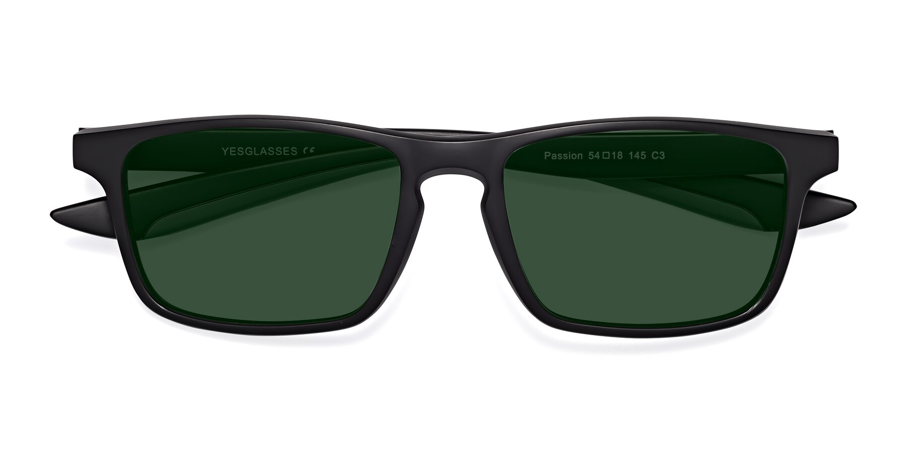 Folded Front of Passion in Matte Black-Gray with Green Tinted Lenses
