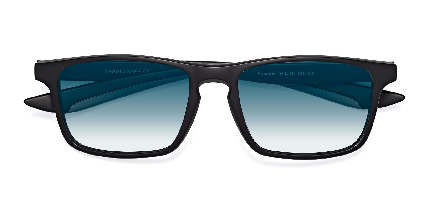 Folded Front of Passion in Matte Black-Gray with Blue Gradient Lenses