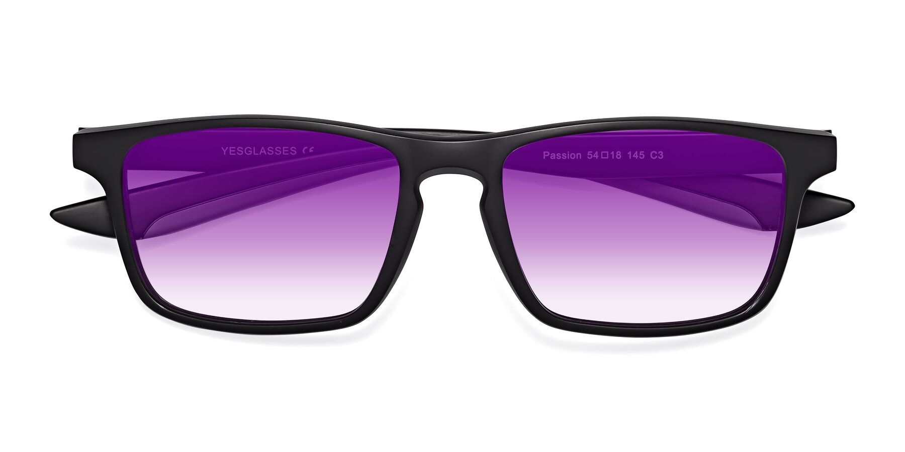 Folded Front of Passion in Matte Black-Gray with Purple Gradient Lenses