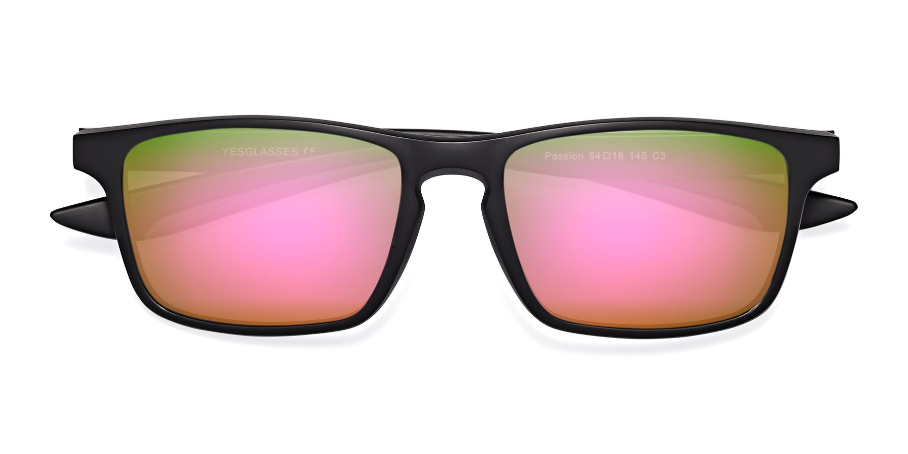Folded Front of Passion in Matte Black-Gray with Pink Mirrored Lenses