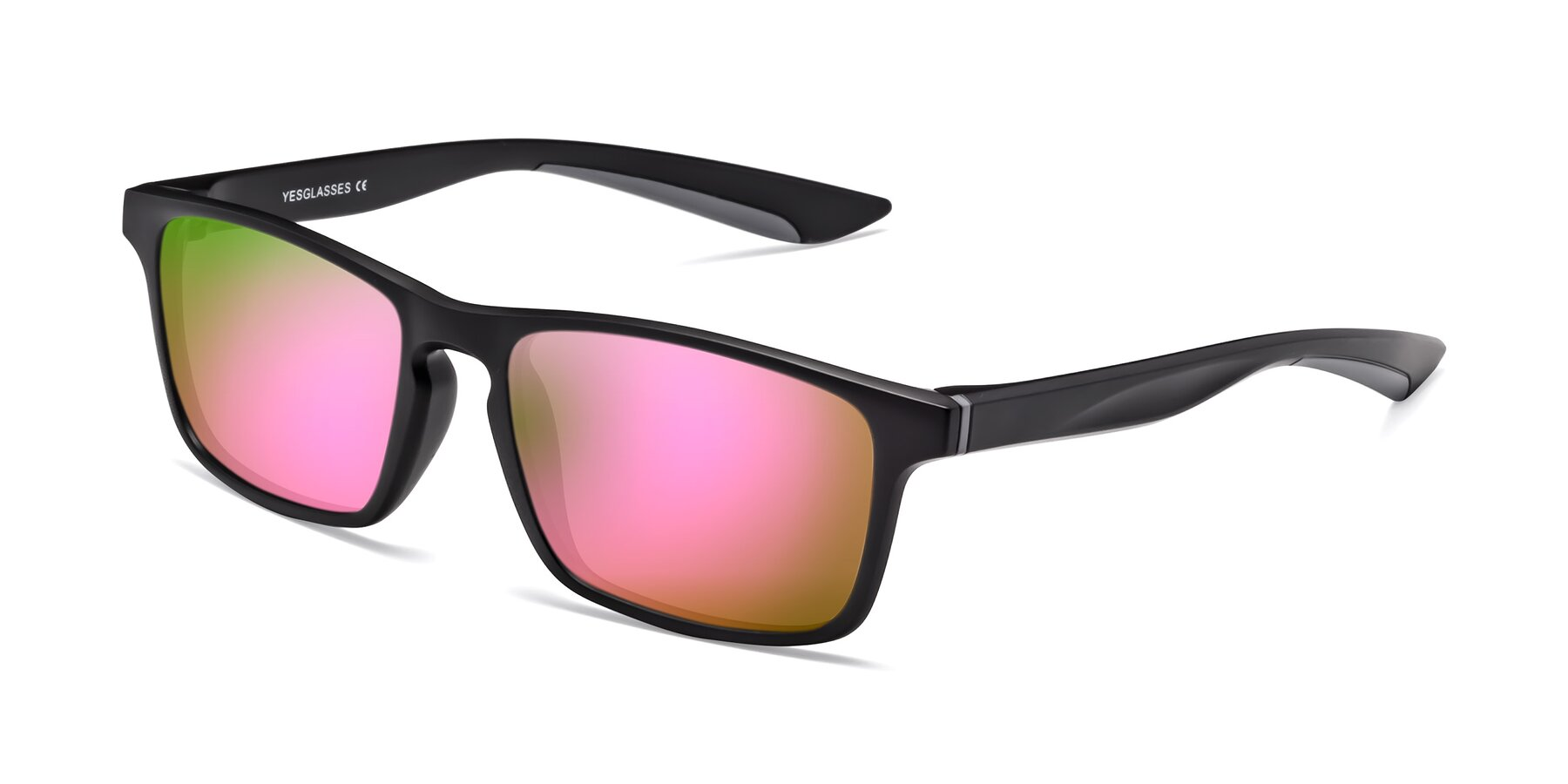 Angle of Passion in Matte Black-Gray with Pink Mirrored Lenses