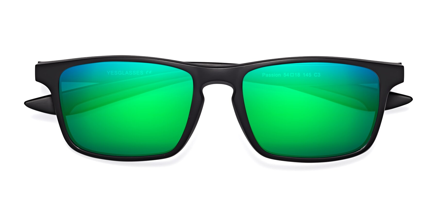 Folded Front of Passion in Matte Black-Gray with Green Mirrored Lenses
