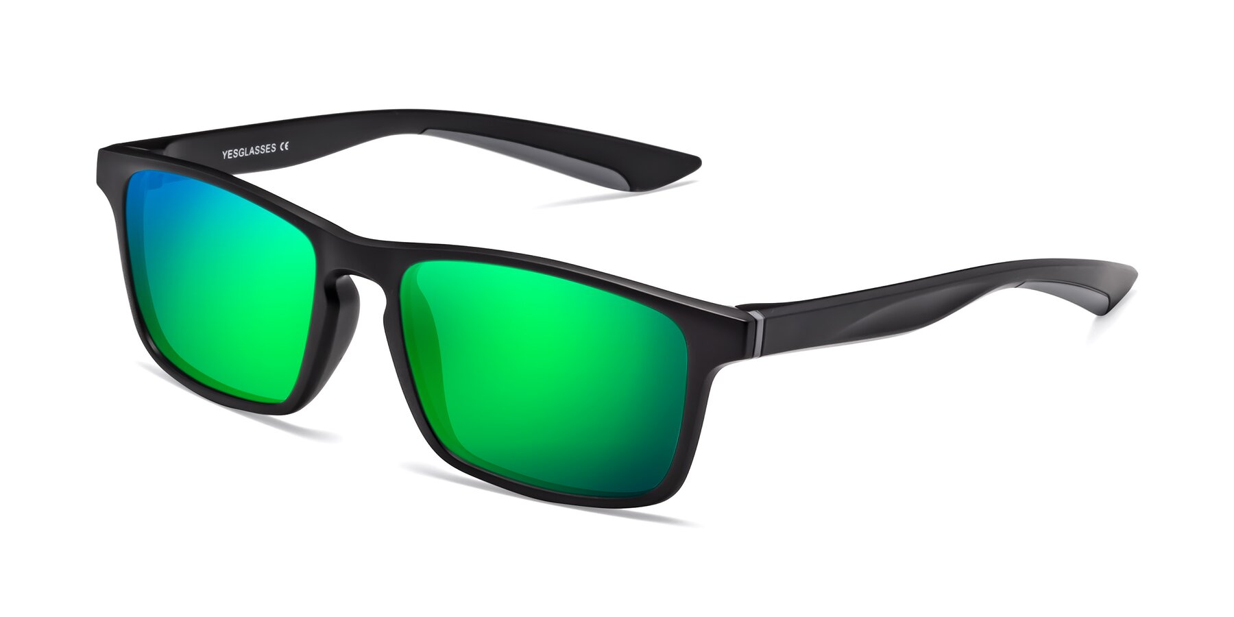 Angle of Passion in Matte Black-Gray with Green Mirrored Lenses