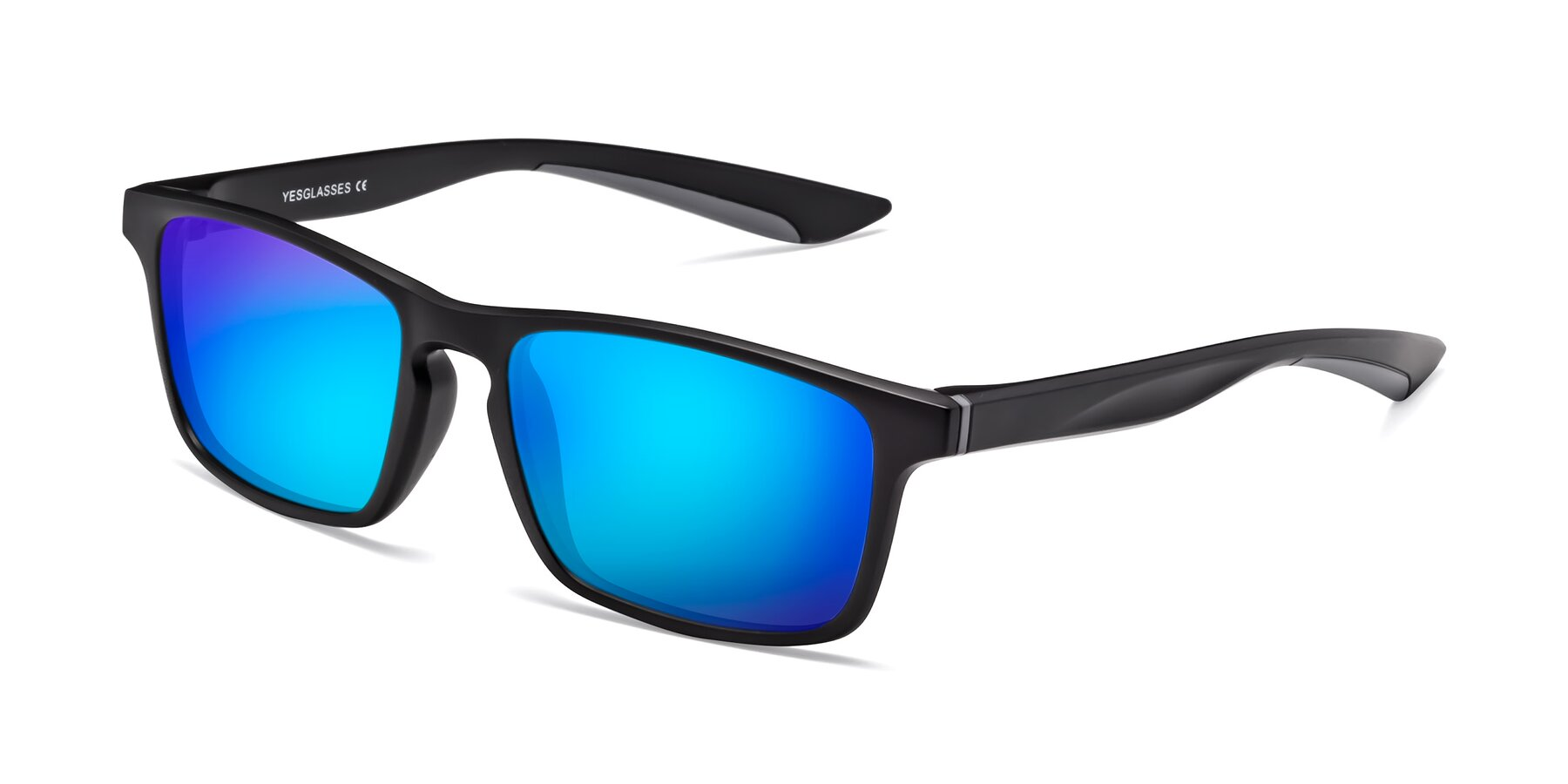 Angle of Passion in Matte Black-Gray with Blue Mirrored Lenses