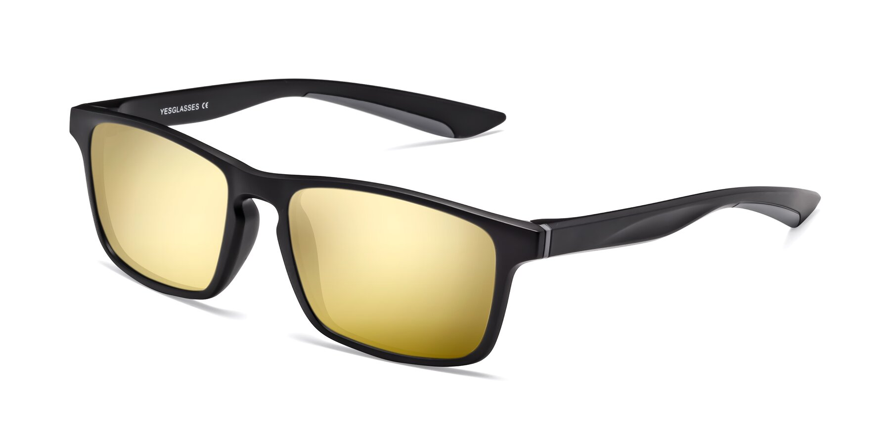 Angle of Passion in Matte Black-Gray with Gold Mirrored Lenses
