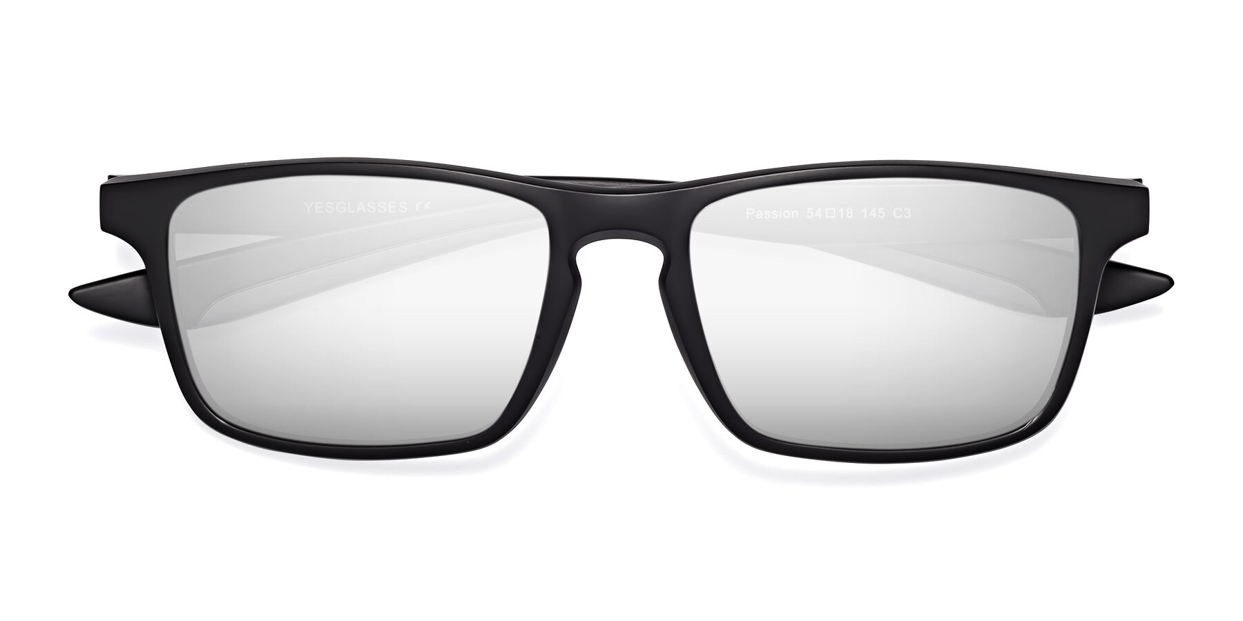 Folded Front of Passion in Matte Black-Gray with Silver Mirrored Lenses