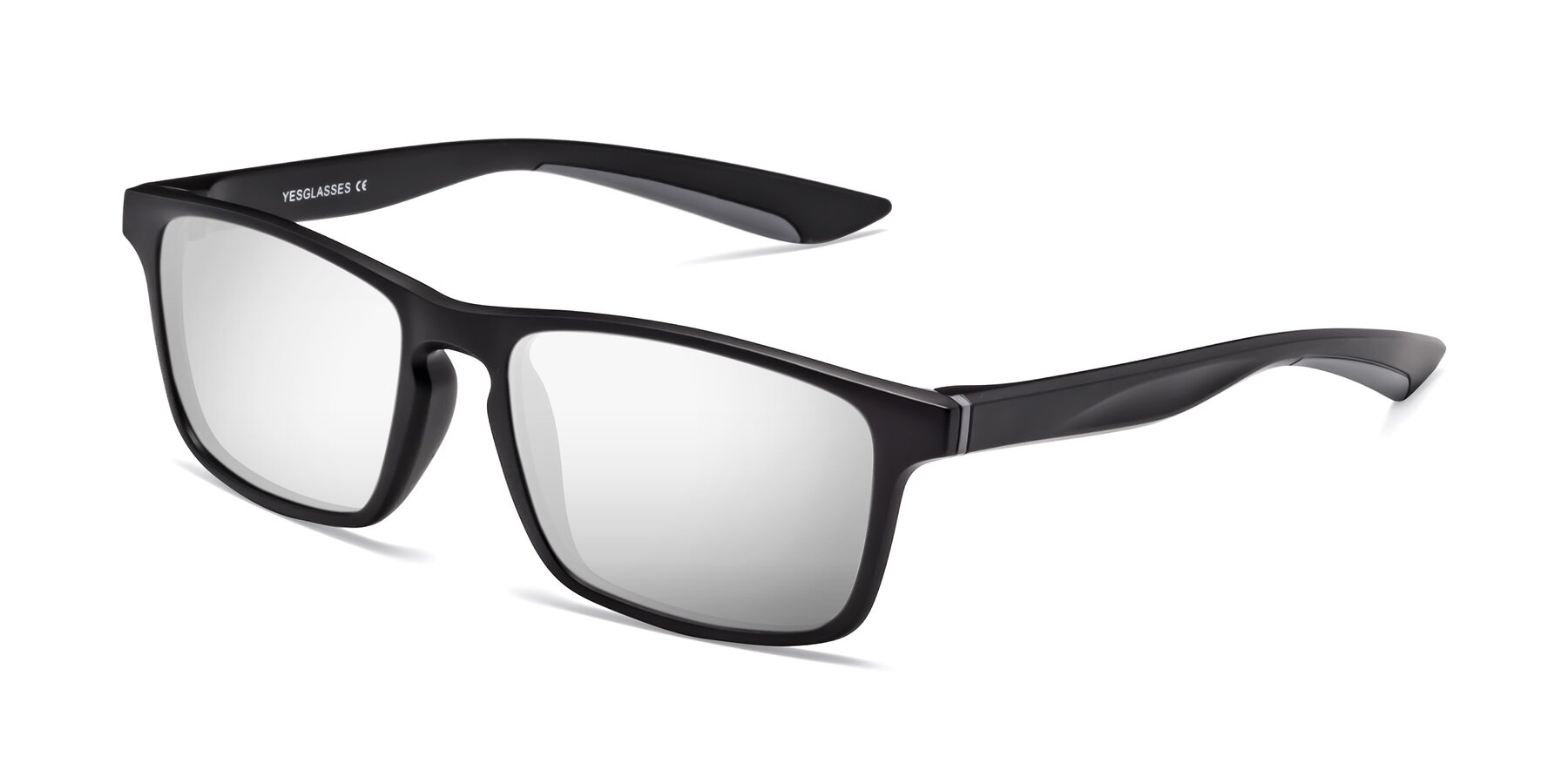 Angle of Passion in Matte Black-Gray with Silver Mirrored Lenses