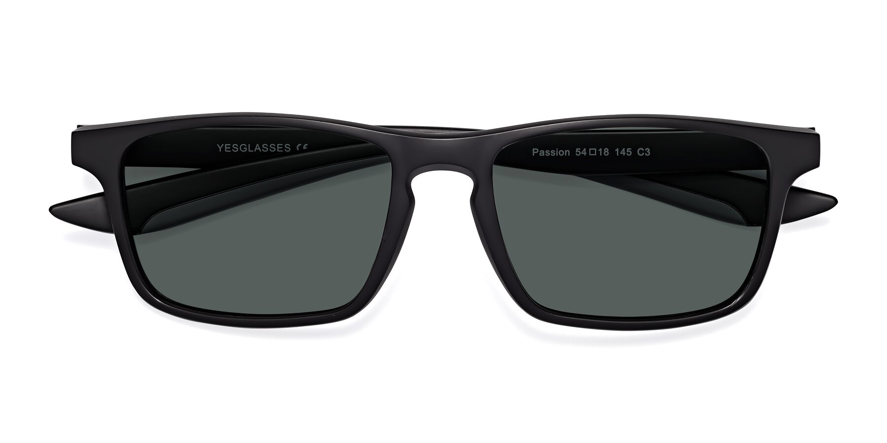 Folded Front of Passion in Matte Black-Gray with Gray Polarized Lenses