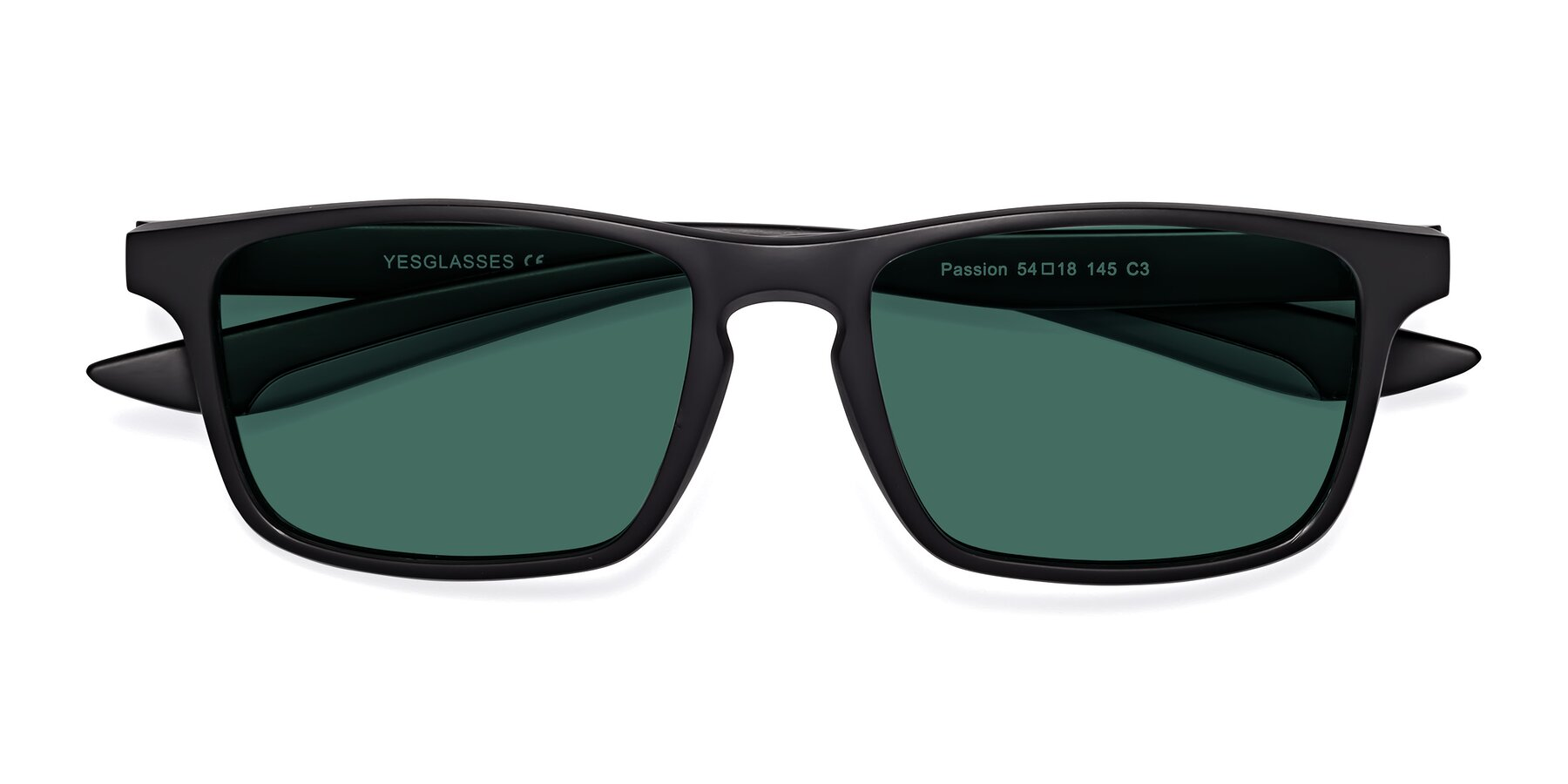 Folded Front of Passion in Matte Black-Gray with Green Polarized Lenses