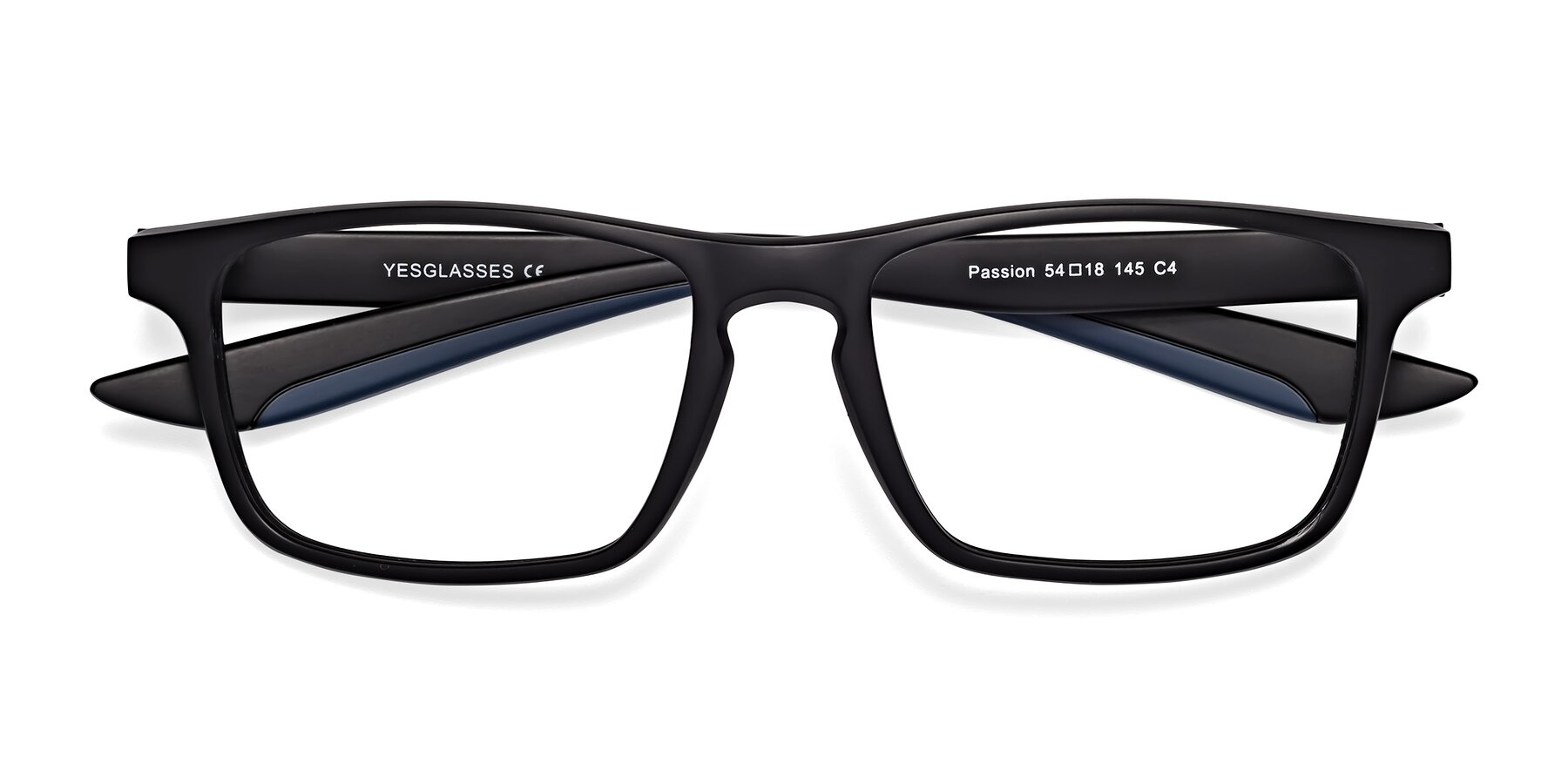 Folded Front of Passion in Matte Black-Blue with Clear Blue Light Blocking Lenses