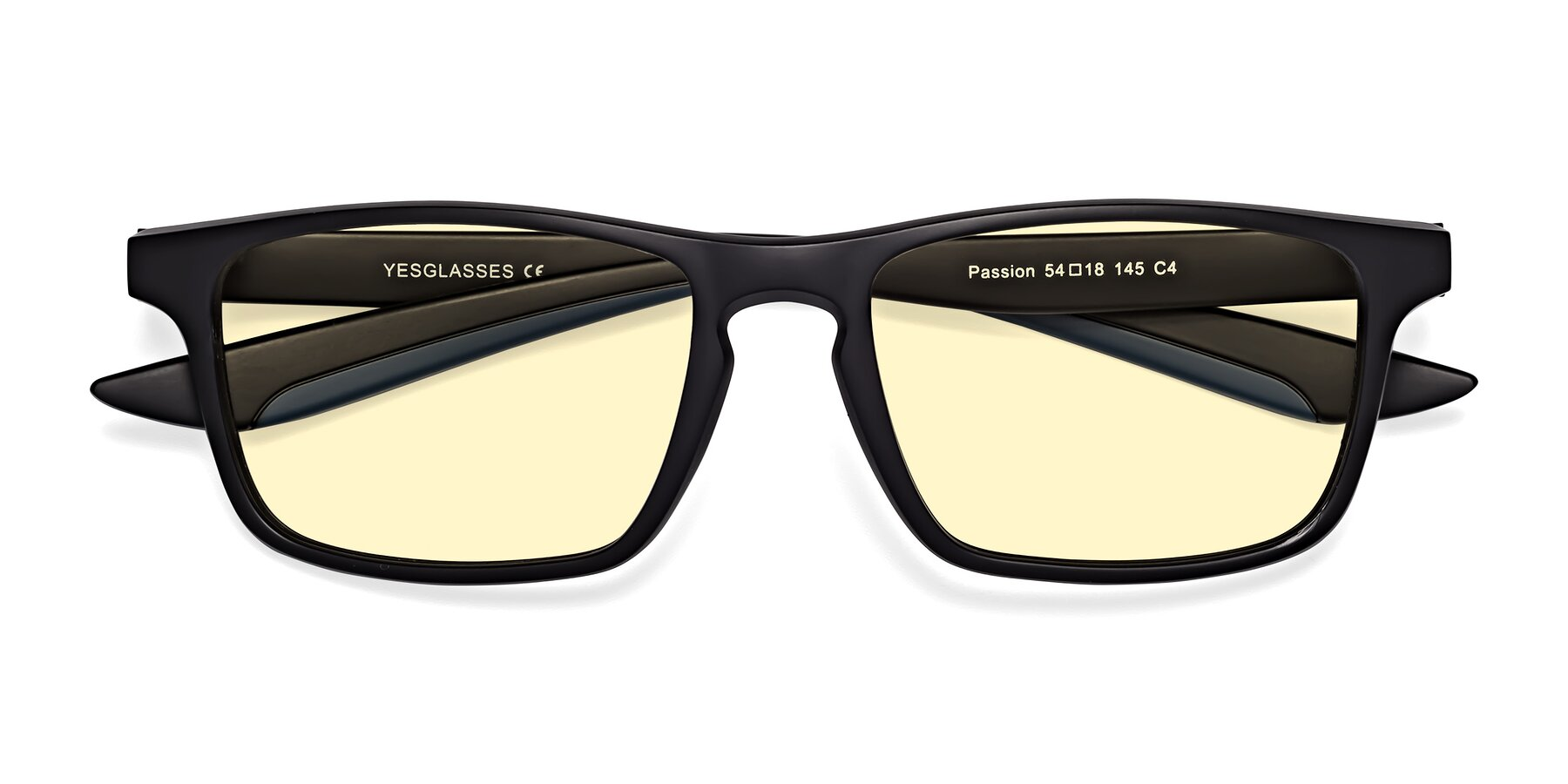 Folded Front of Passion in Matte Black-Blue with Light Yellow Tinted Lenses