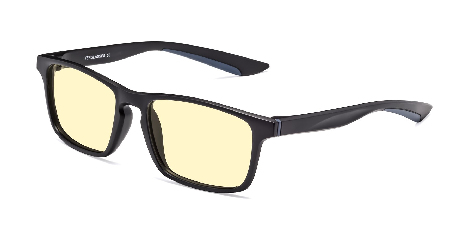 Angle of Passion in Matte Black-Blue with Light Yellow Tinted Lenses