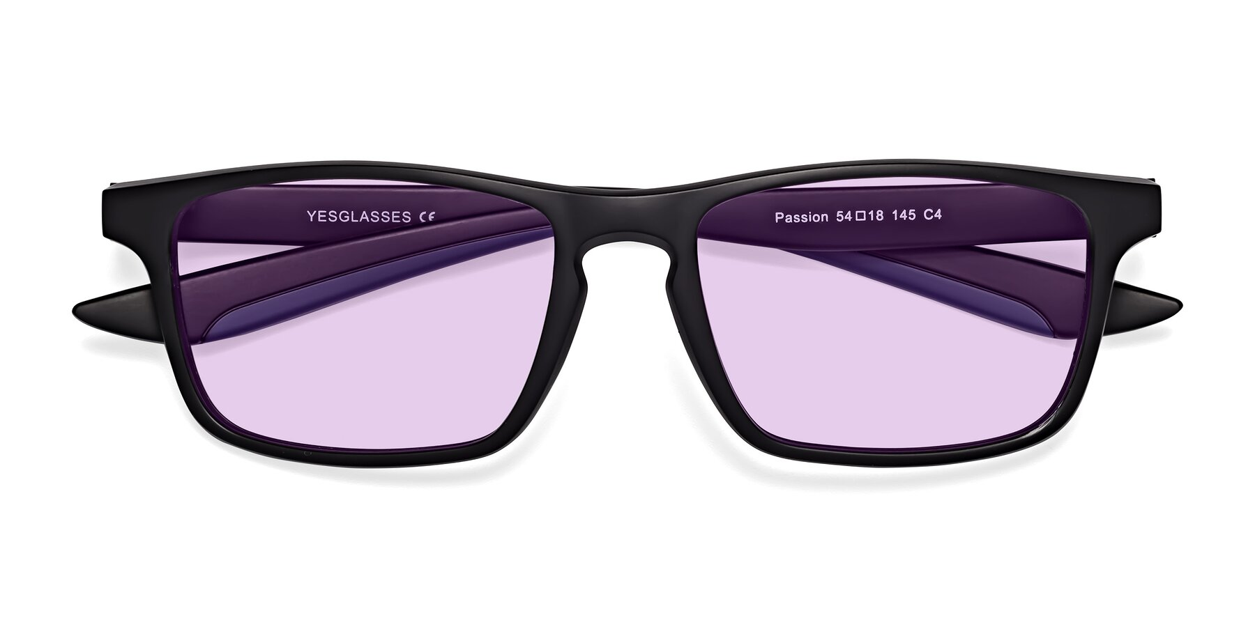 Folded Front of Passion in Matte Black-Blue with Light Purple Tinted Lenses