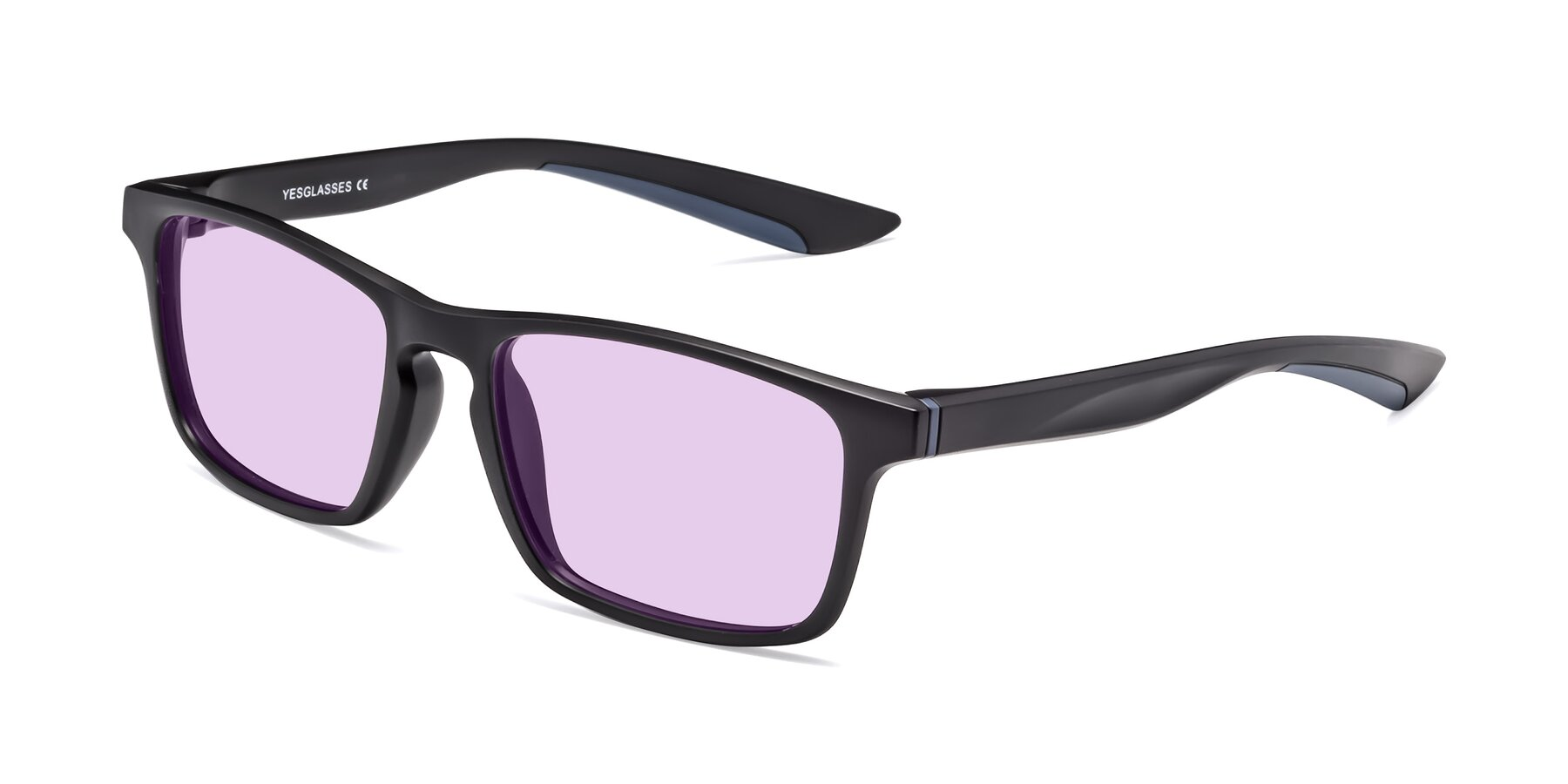 Angle of Passion in Matte Black-Blue with Light Purple Tinted Lenses