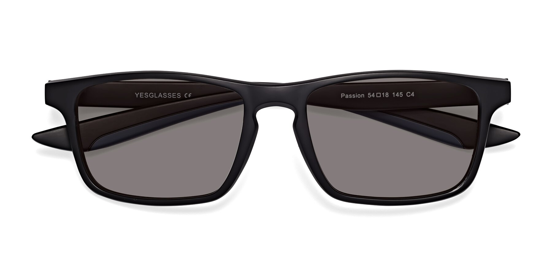 Folded Front of Passion in Matte Black-Blue with Medium Gray Tinted Lenses