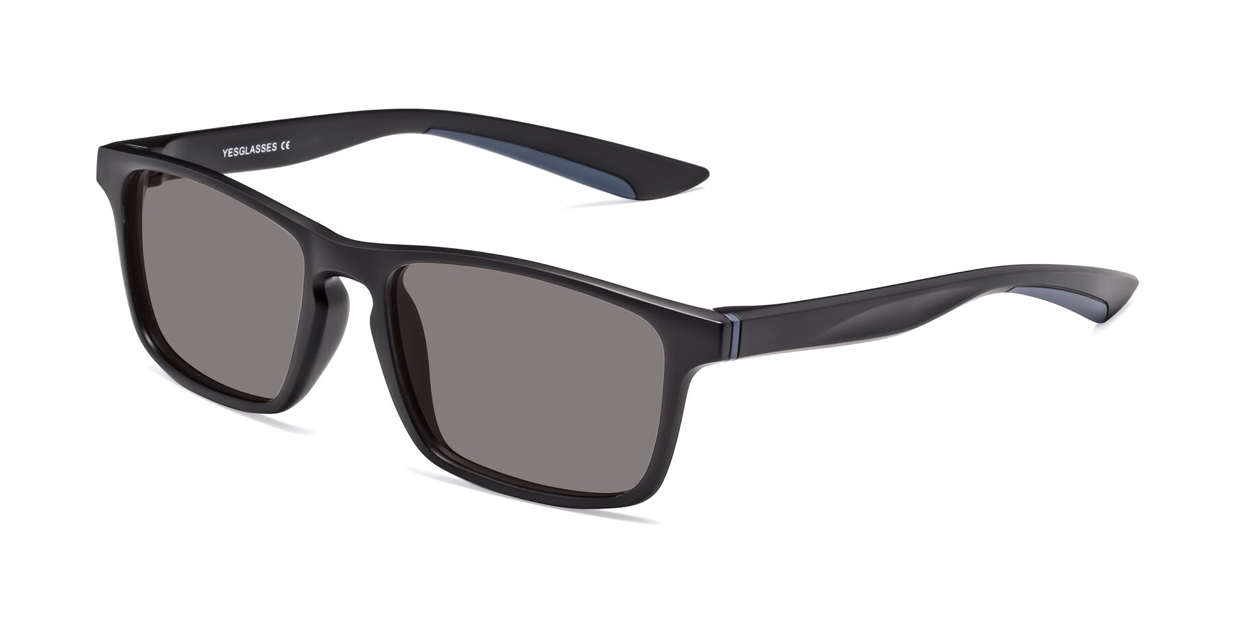 Angle of Passion in Matte Black-Blue with Medium Gray Tinted Lenses