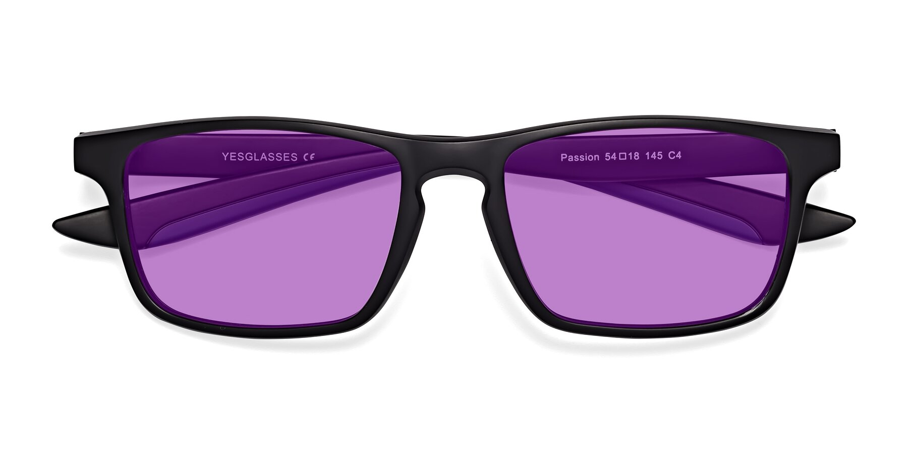 Folded Front of Passion in Matte Black-Blue with Medium Purple Tinted Lenses