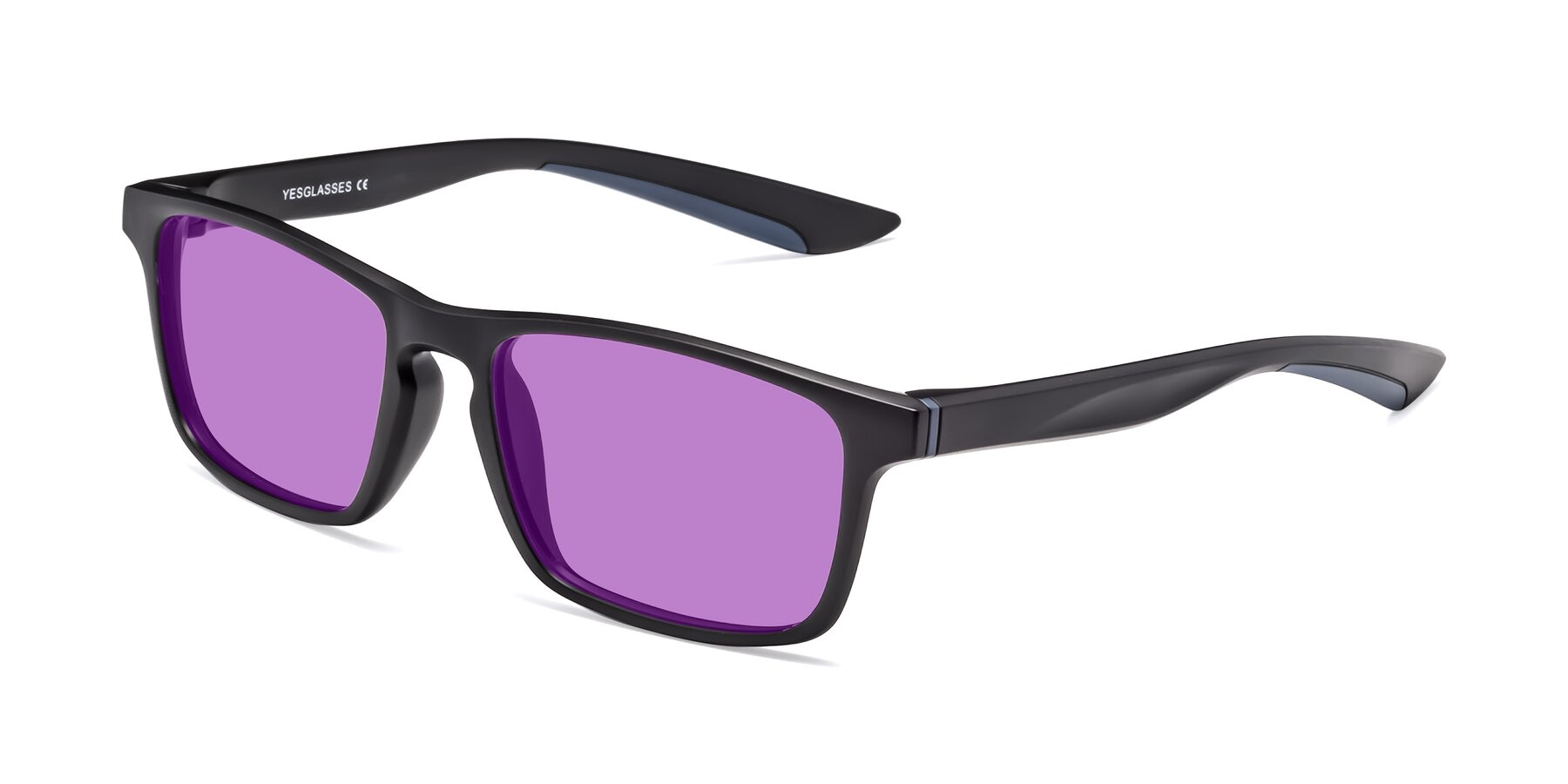 Angle of Passion in Matte Black-Blue with Medium Purple Tinted Lenses