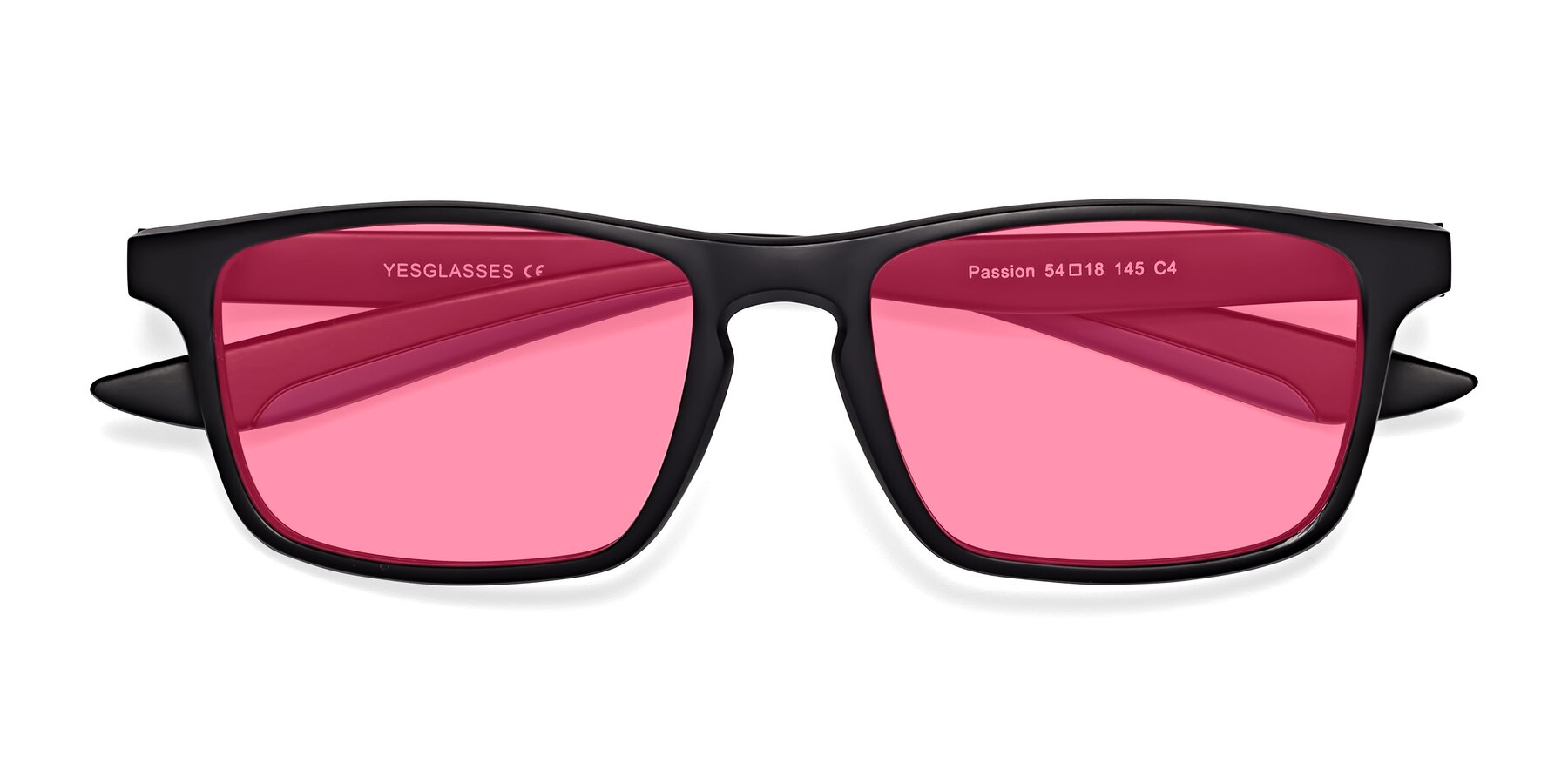 Folded Front of Passion in Matte Black-Blue with Pink Tinted Lenses
