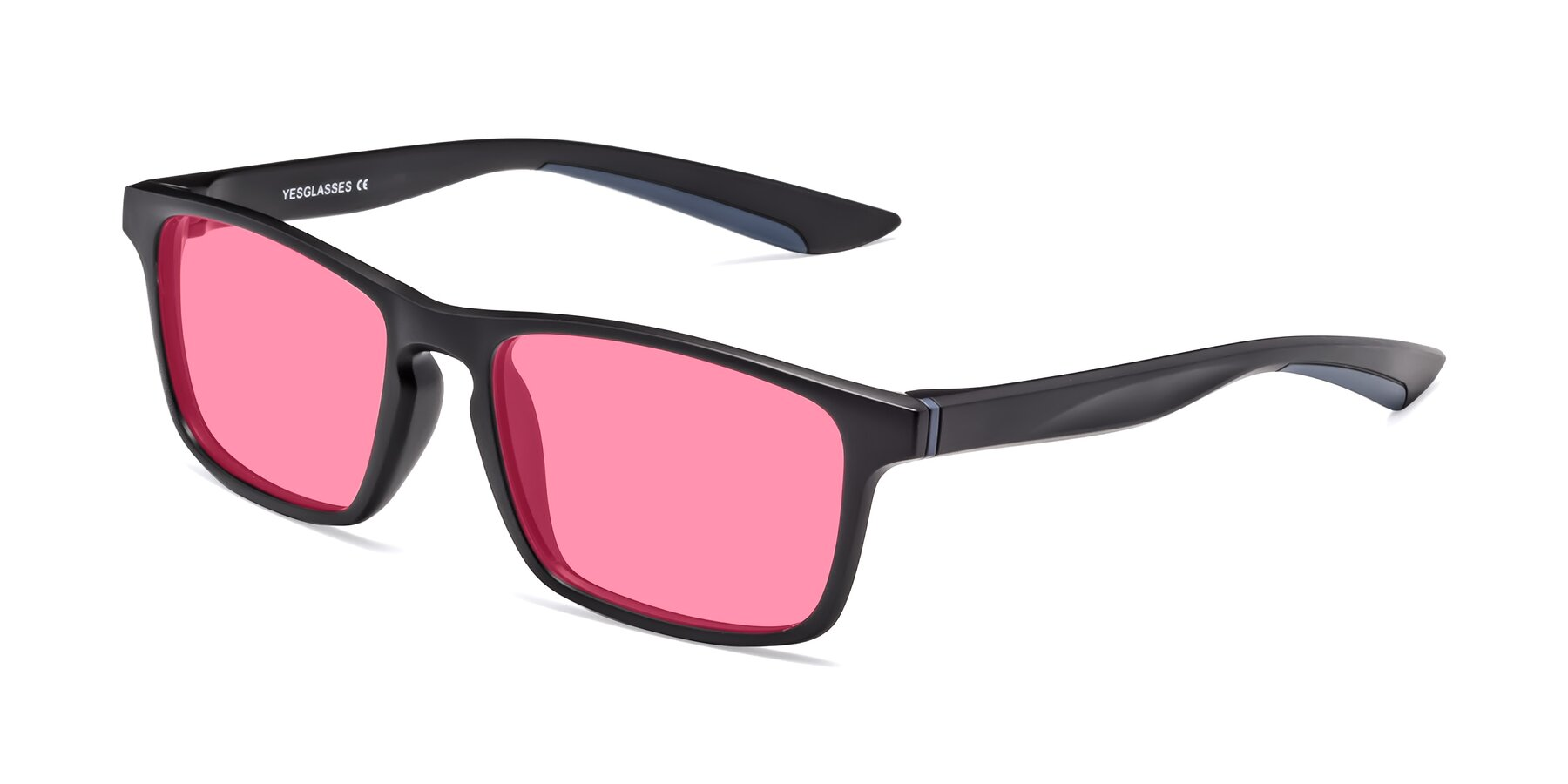 Angle of Passion in Matte Black-Blue with Pink Tinted Lenses