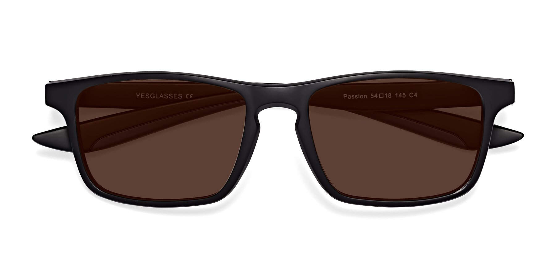 Folded Front of Passion in Matte Black-Blue with Brown Tinted Lenses