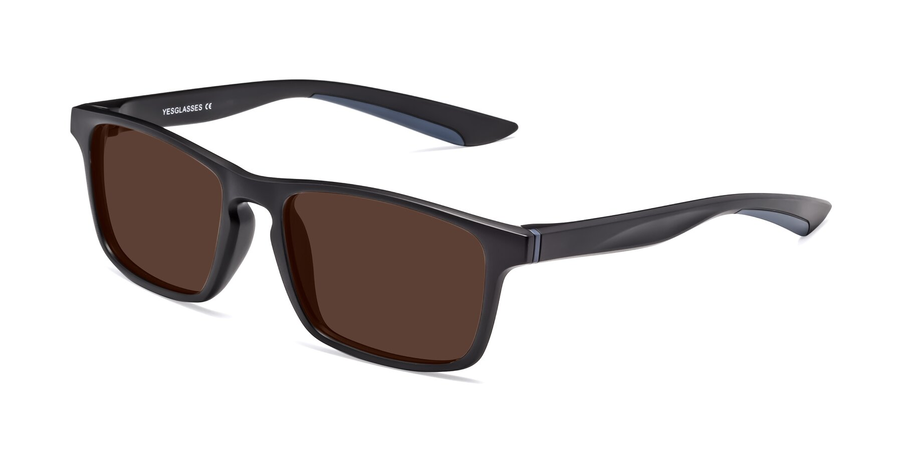 Angle of Passion in Matte Black-Blue with Brown Tinted Lenses