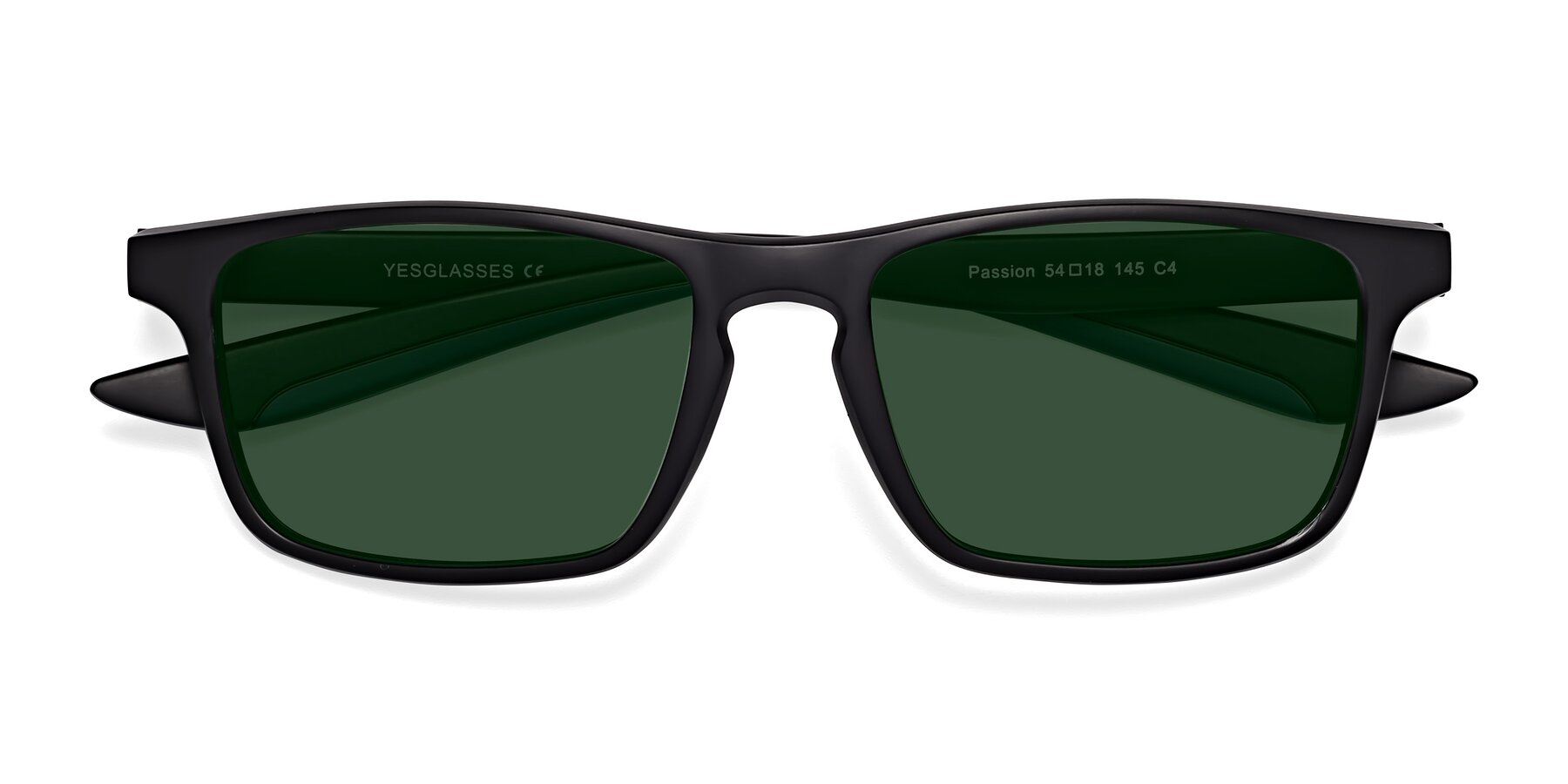 Folded Front of Passion in Matte Black-Blue with Green Tinted Lenses