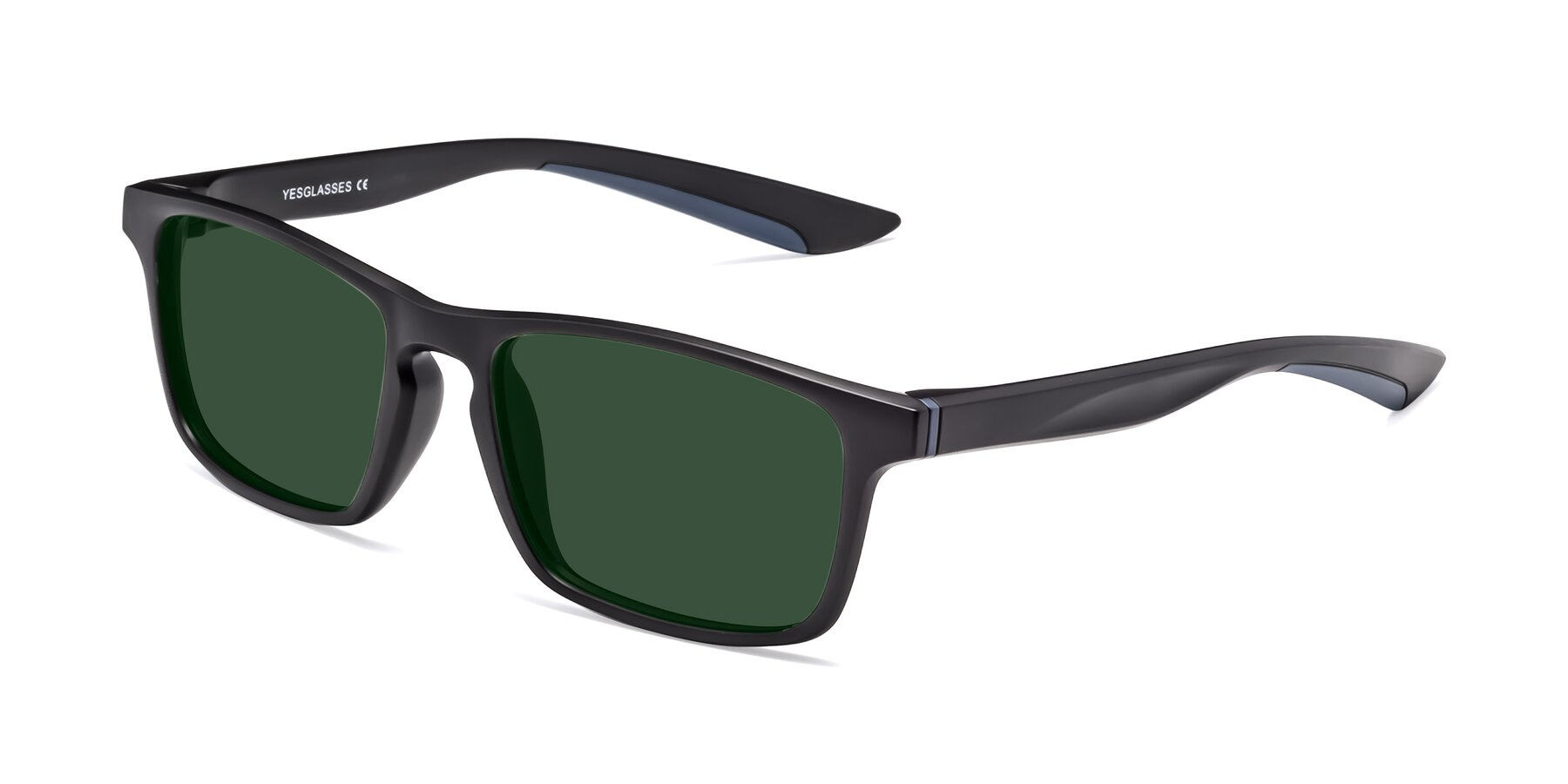 Angle of Passion in Matte Black-Blue with Green Tinted Lenses