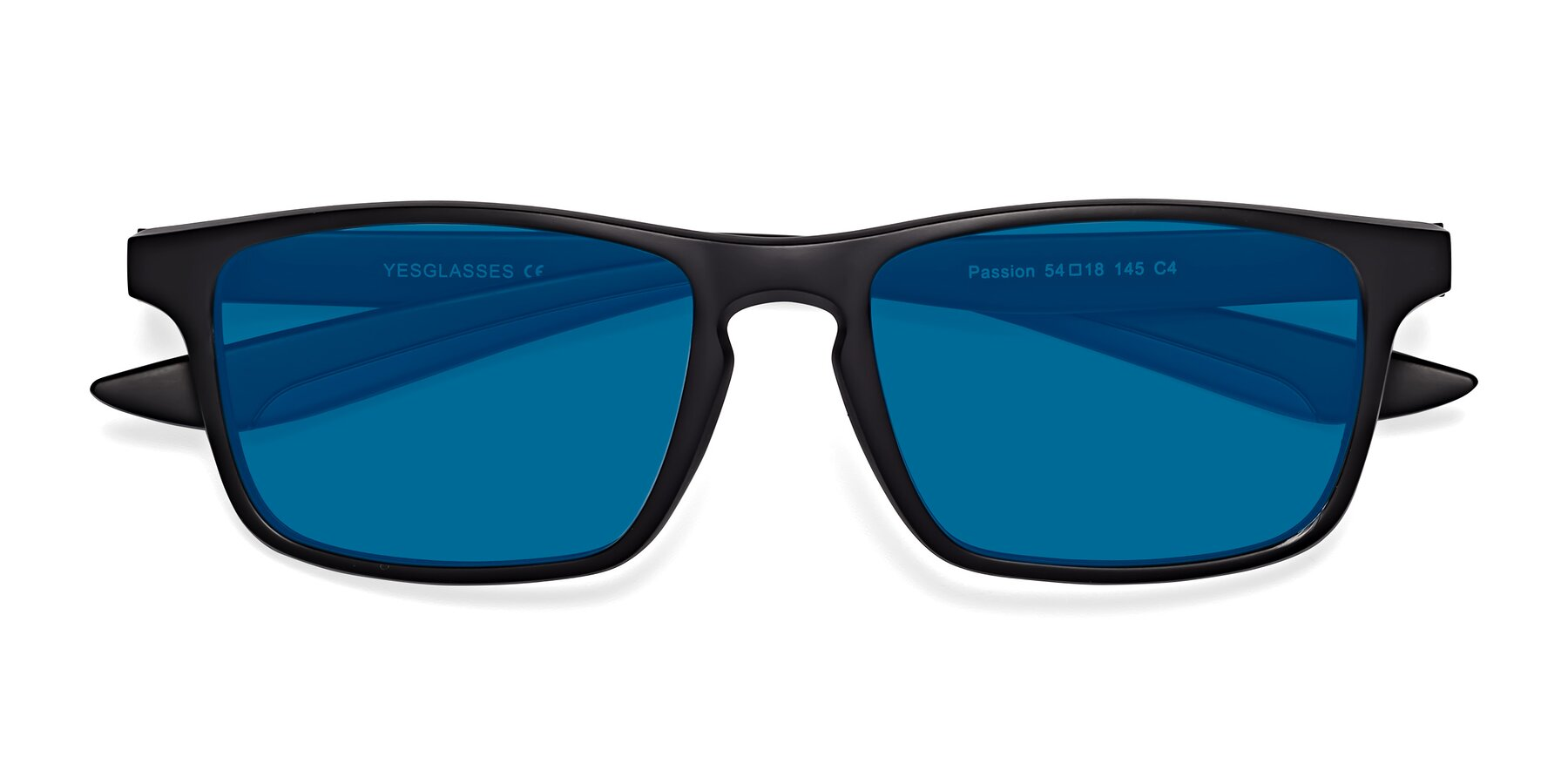 Folded Front of Passion in Matte Black-Blue with Blue Tinted Lenses