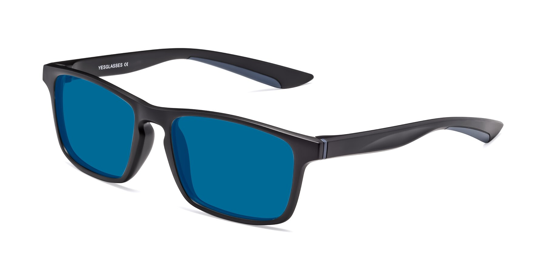 Angle of Passion in Matte Black-Blue with Blue Tinted Lenses