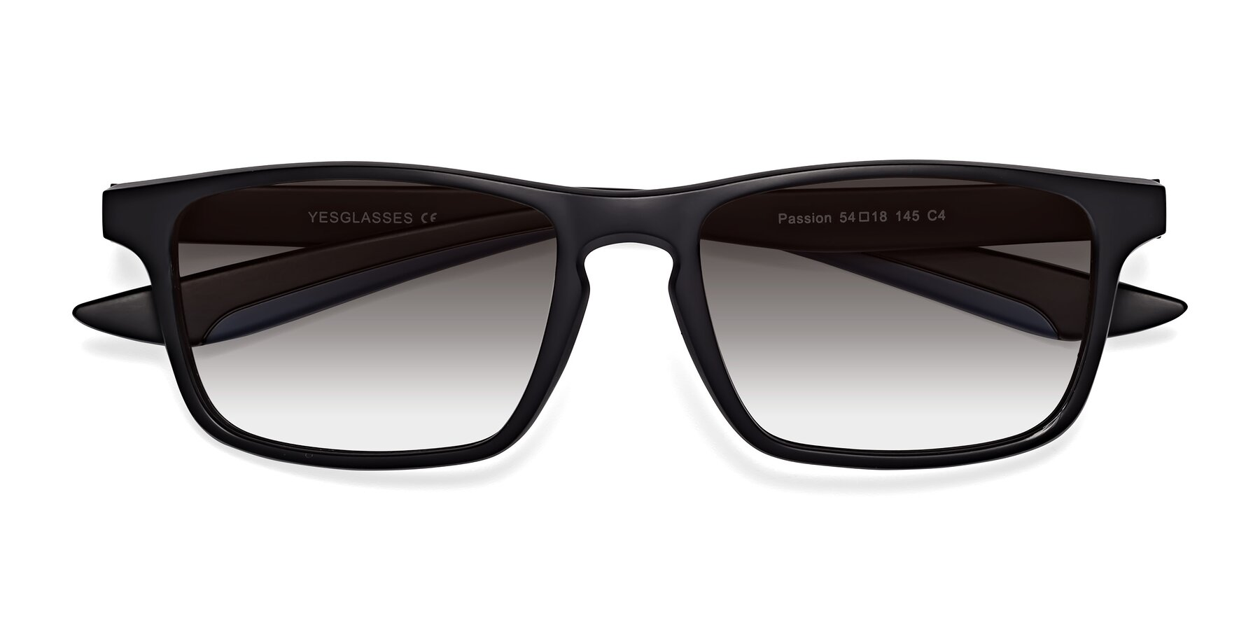 Folded Front of Passion in Matte Black-Blue with Gray Gradient Lenses