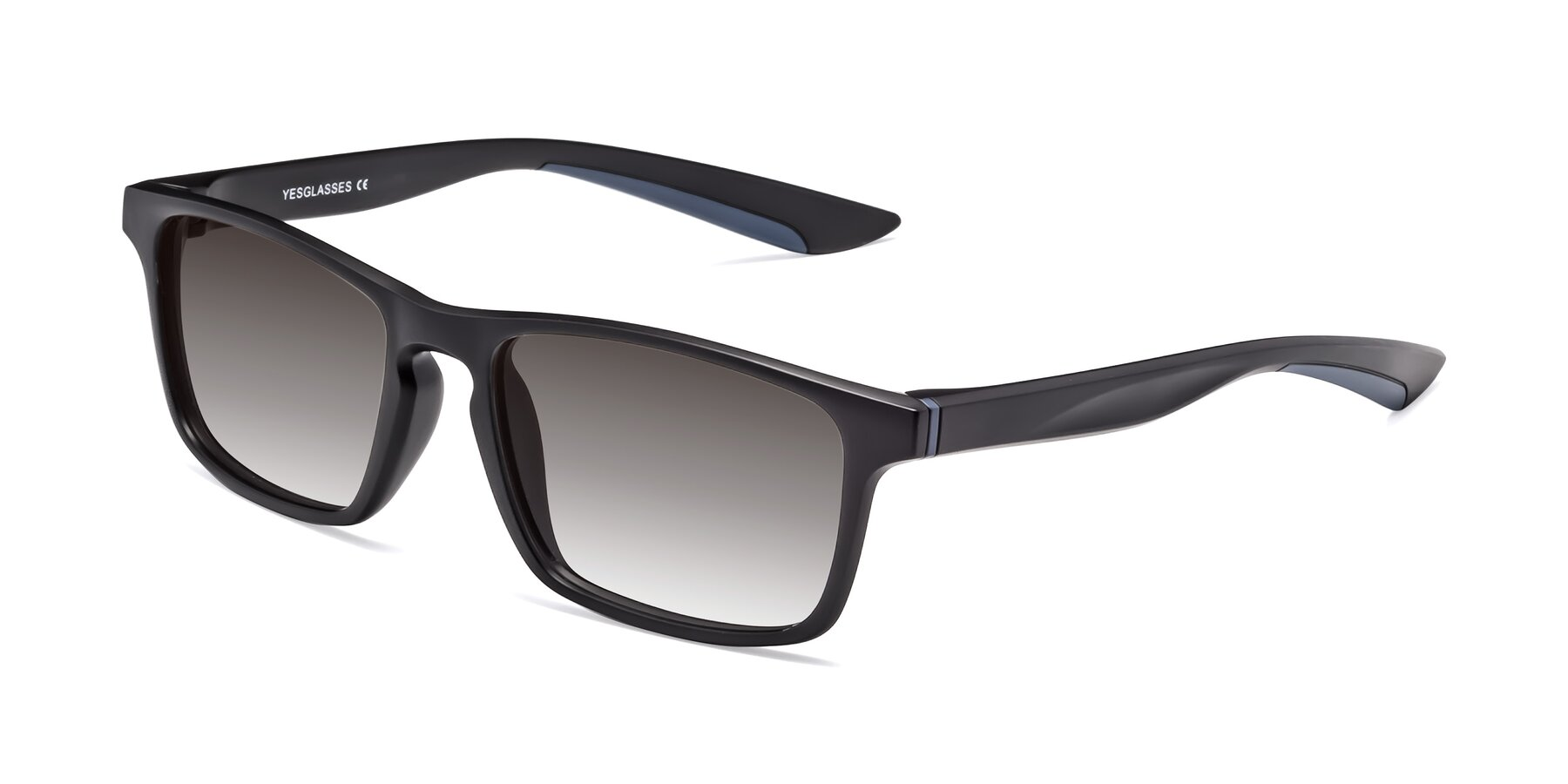 Angle of Passion in Matte Black-Blue with Gray Gradient Lenses