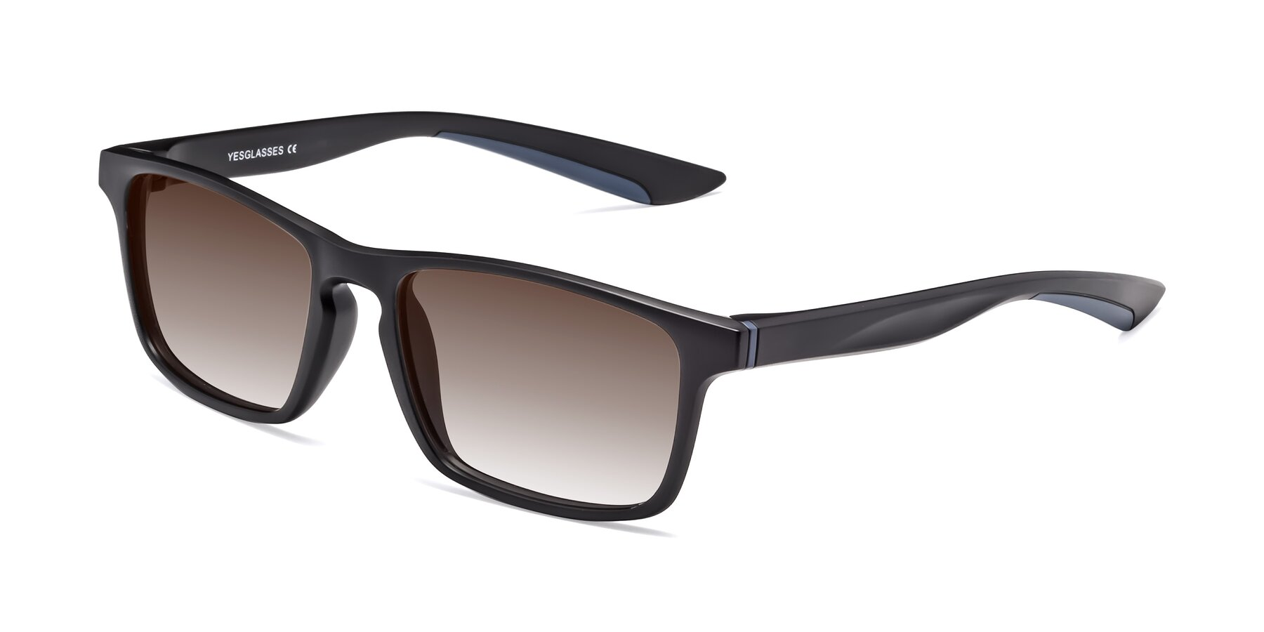 Angle of Passion in Matte Black-Blue with Brown Gradient Lenses