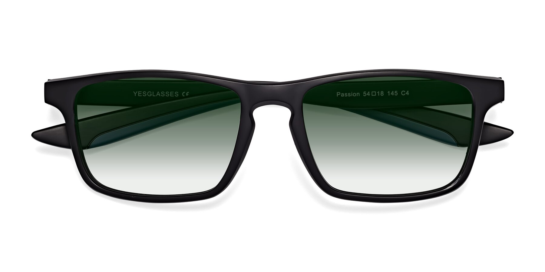 Folded Front of Passion in Matte Black-Blue with Green Gradient Lenses