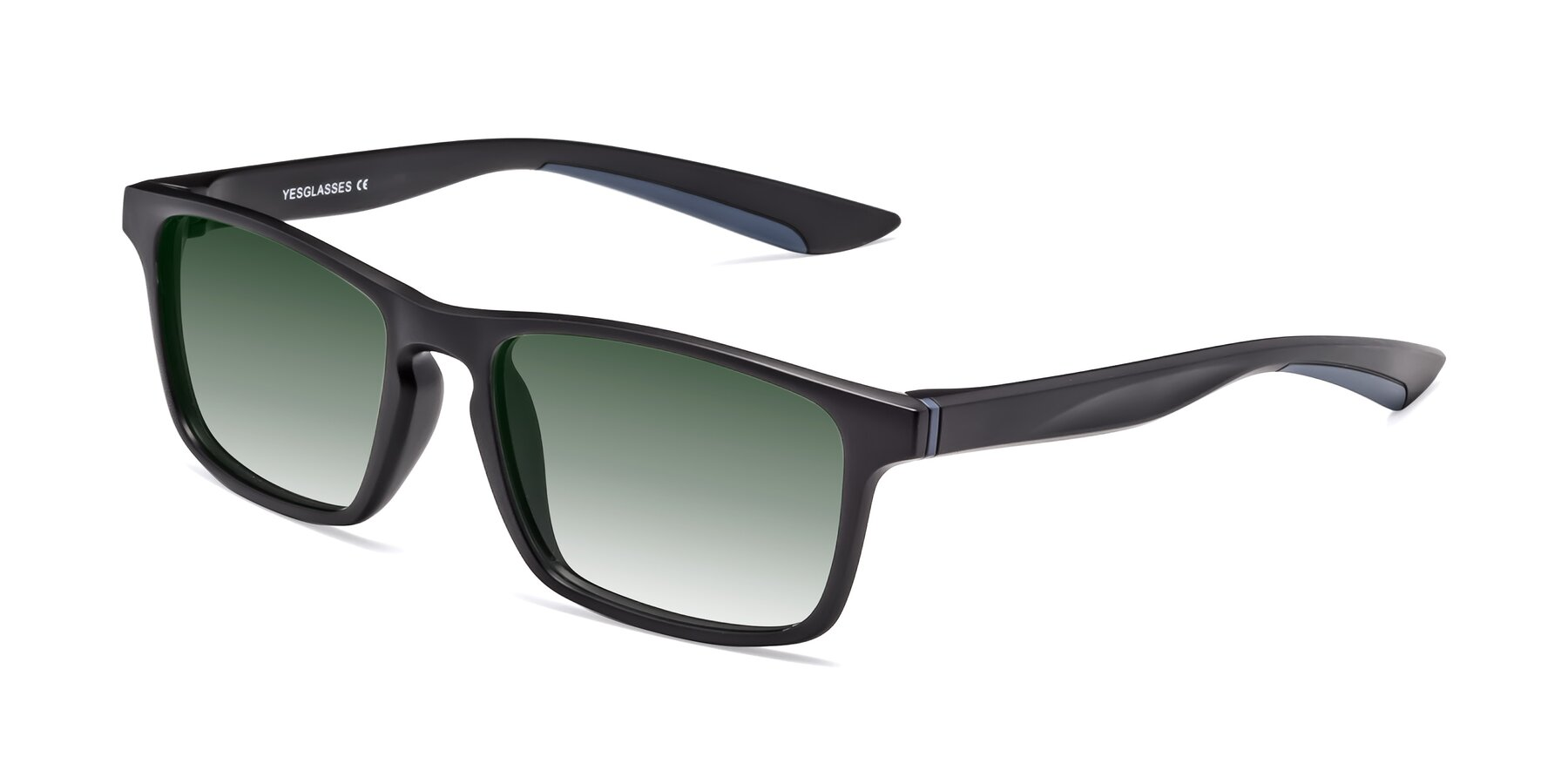 Angle of Passion in Matte Black-Blue with Green Gradient Lenses