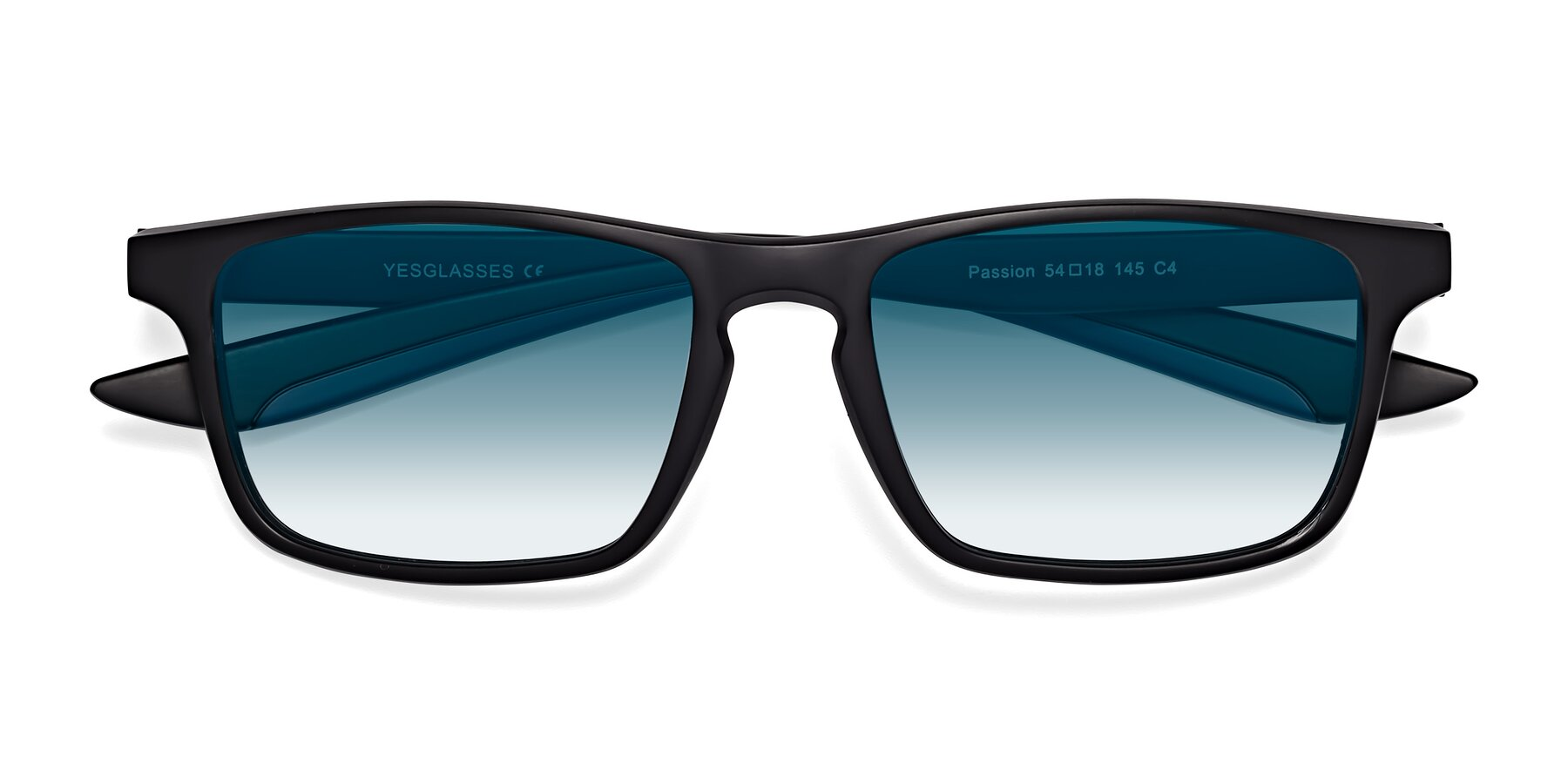 Folded Front of Passion in Matte Black-Blue with Blue Gradient Lenses