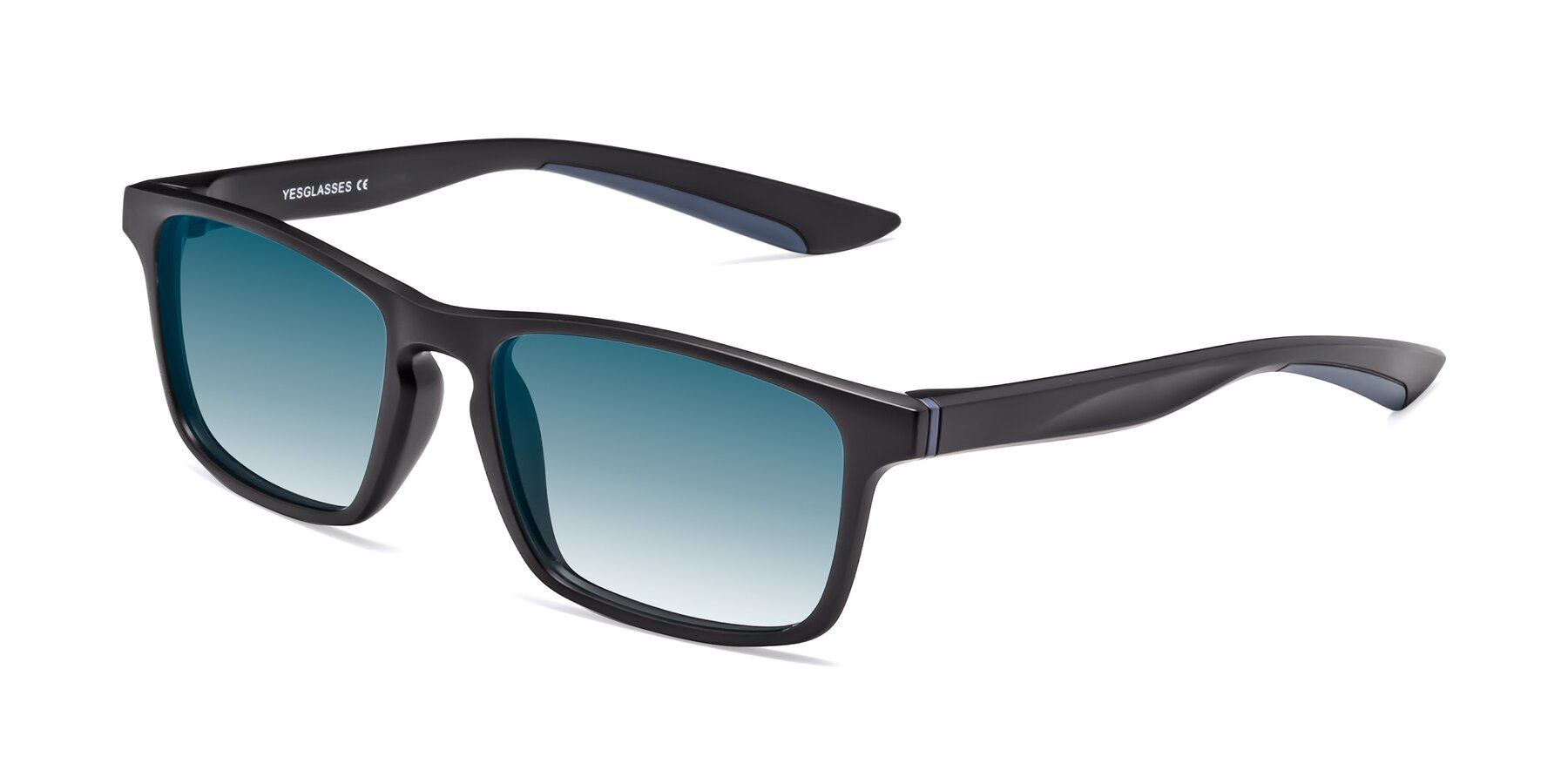Angle of Passion in Matte Black-Blue with Blue Gradient Lenses