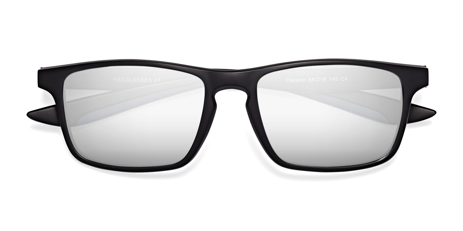 Folded Front of Passion in Matte Black-Blue with Silver Mirrored Lenses