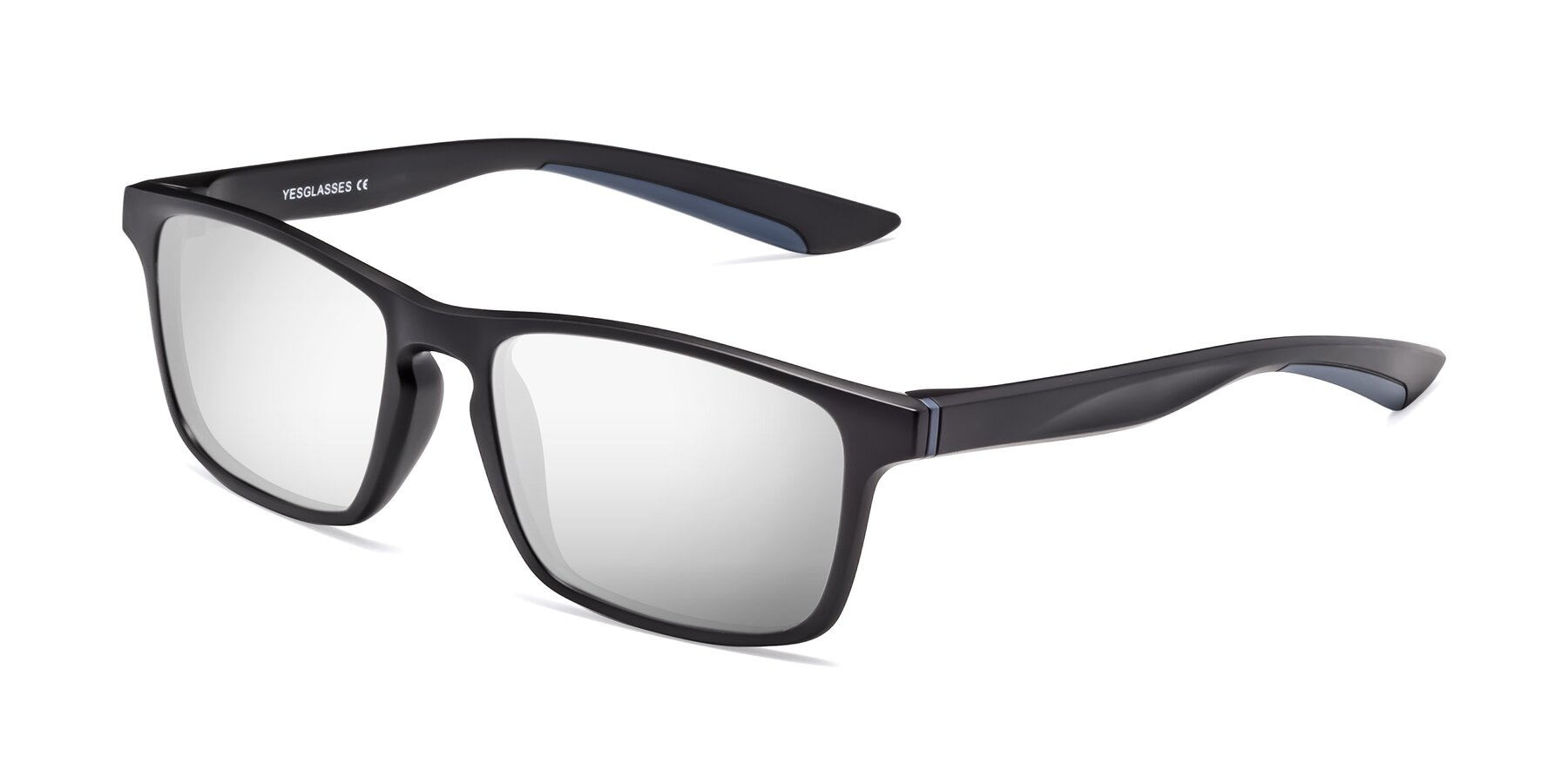 Angle of Passion in Matte Black-Blue with Silver Mirrored Lenses