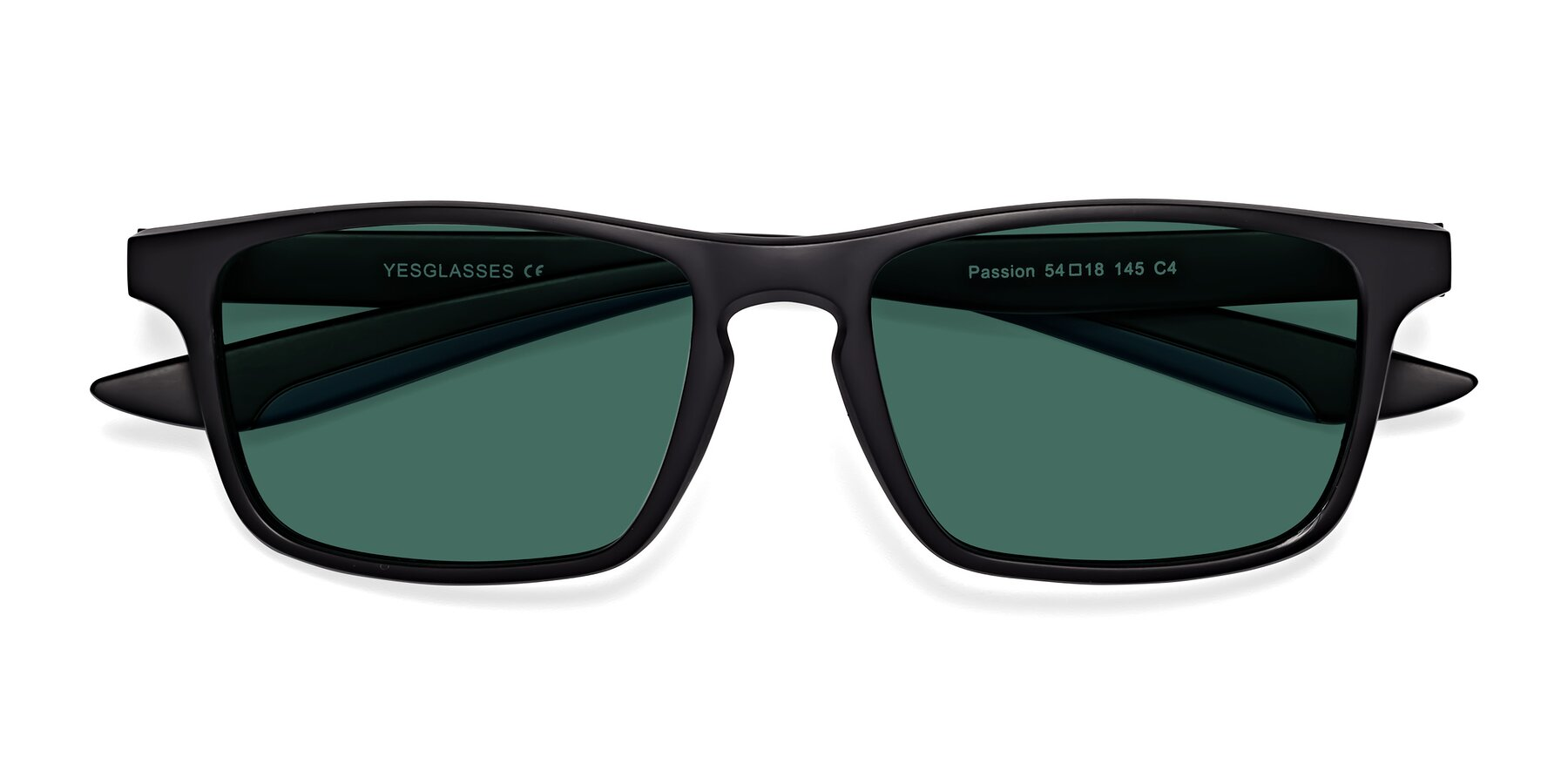 Folded Front of Passion in Matte Black-Blue with Green Polarized Lenses