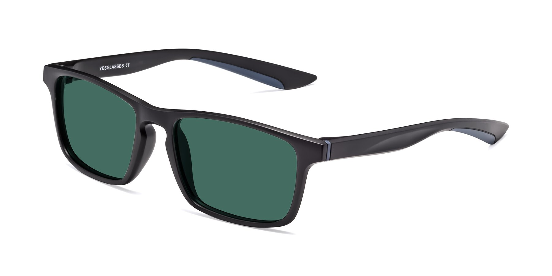 Angle of Passion in Matte Black-Blue with Green Polarized Lenses