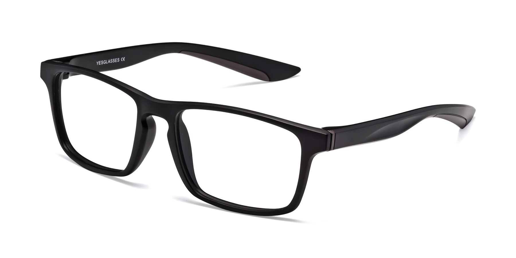 Angle of Passion in Matte Black-Coffee with Clear Eyeglass Lenses