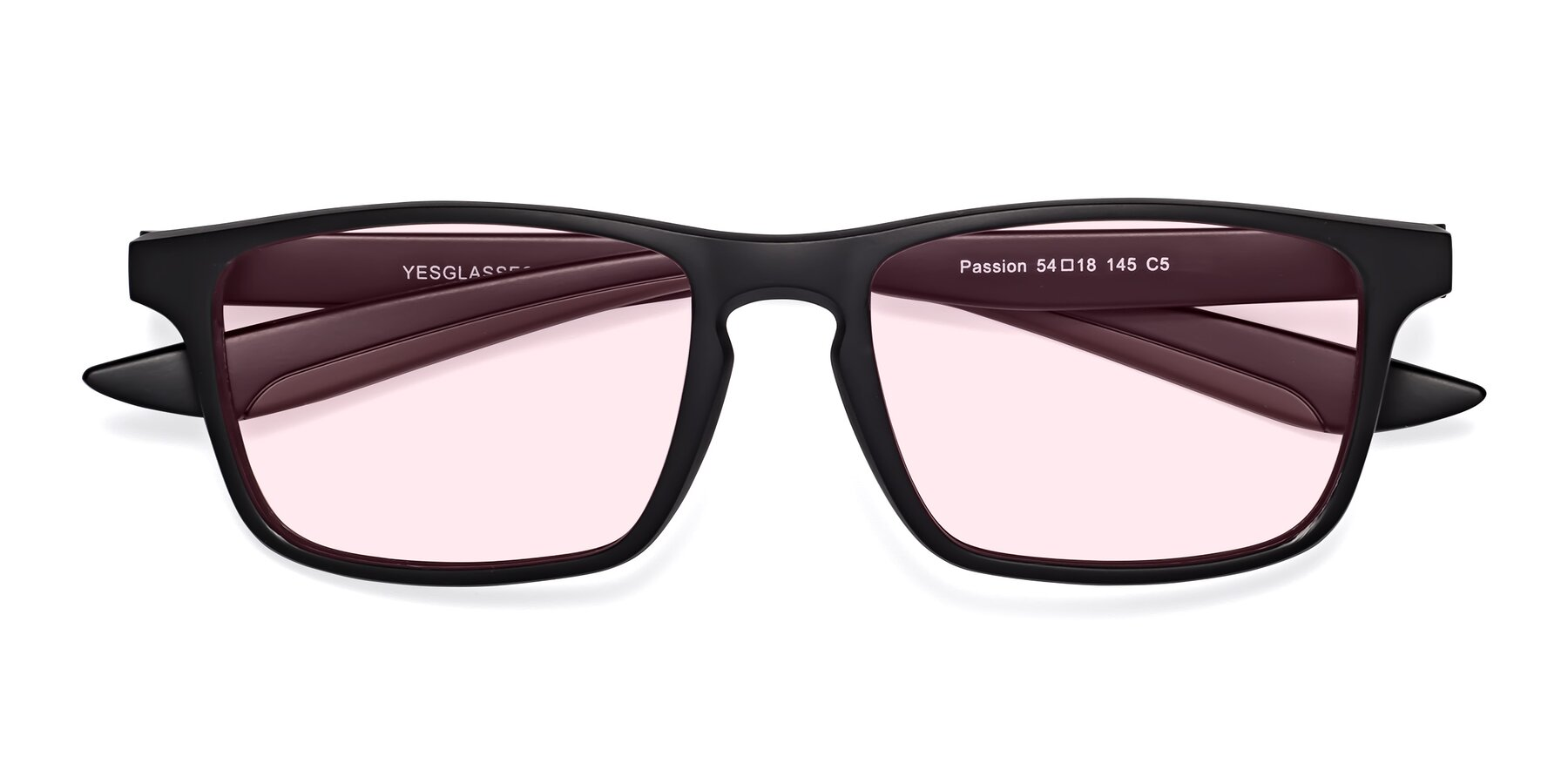 Folded Front of Passion in Matte Black-Coffee with Light Pink Tinted Lenses