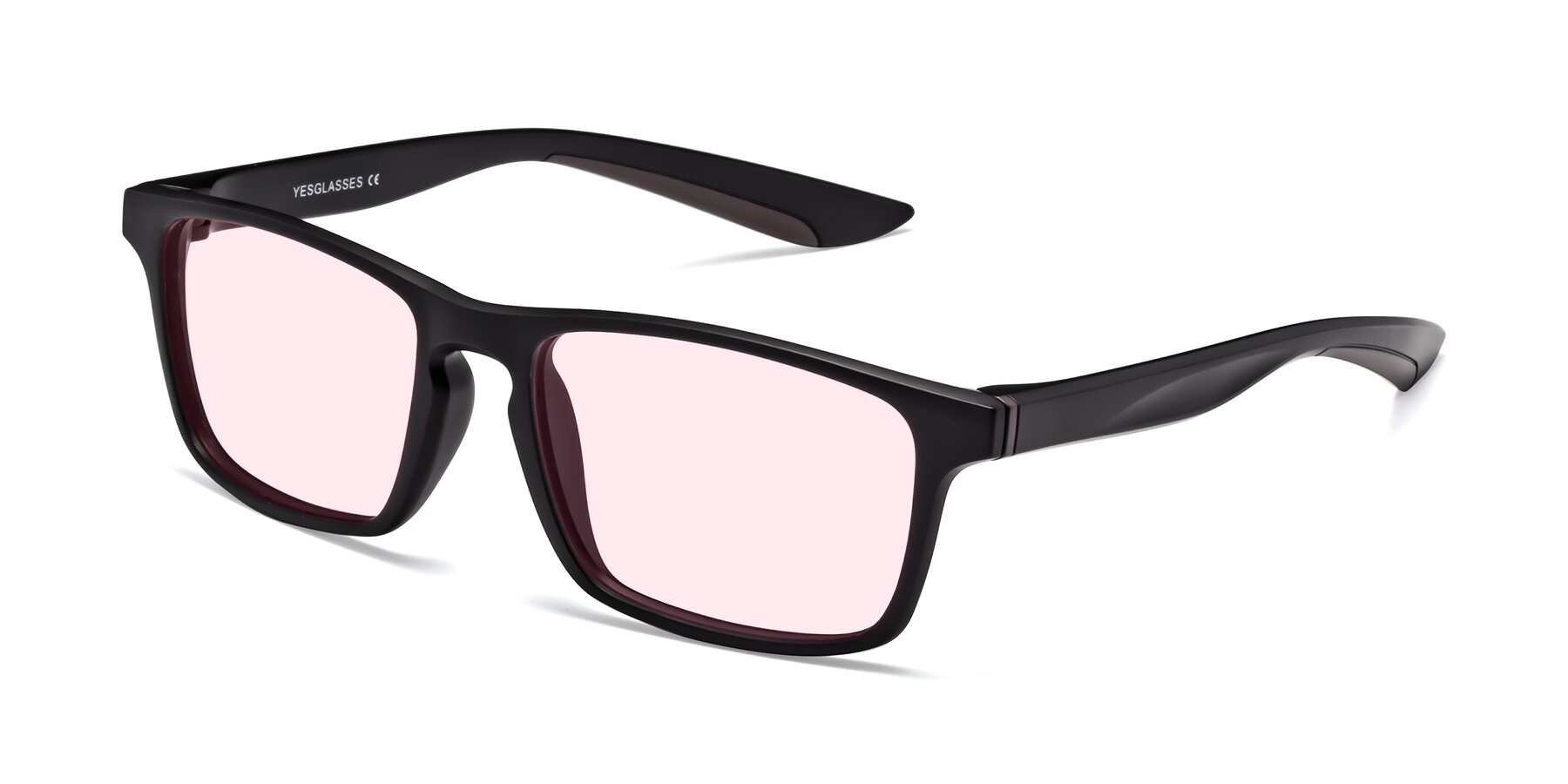 Angle of Passion in Matte Black-Coffee with Light Pink Tinted Lenses