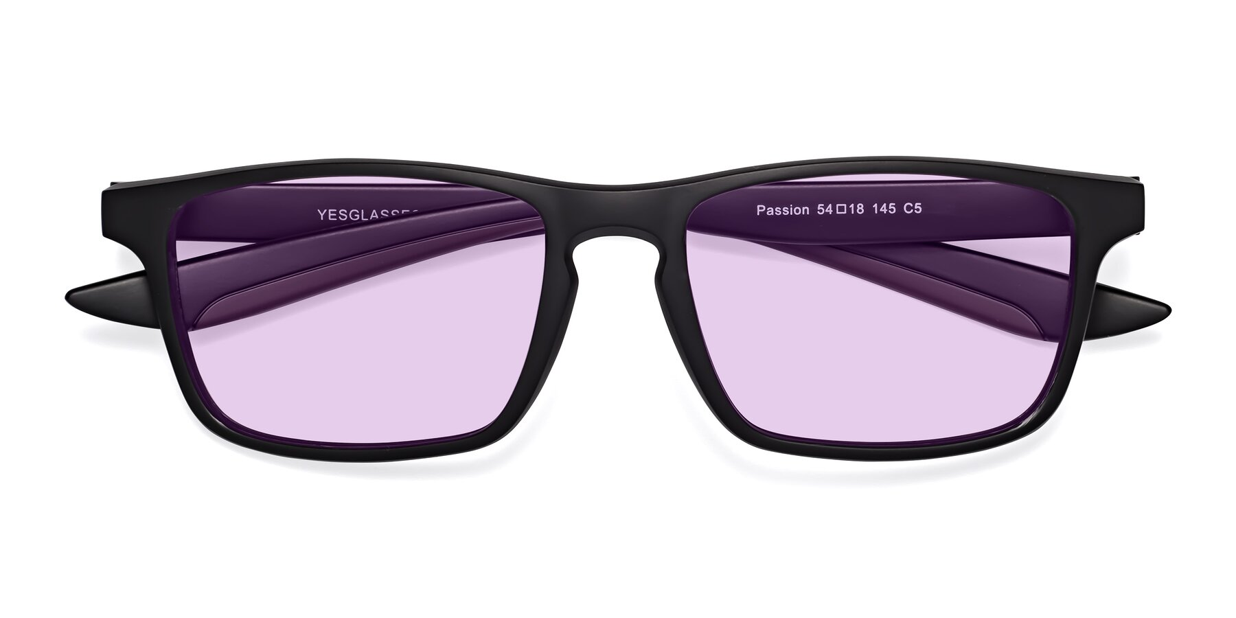 Folded Front of Passion in Matte Black-Coffee with Light Purple Tinted Lenses