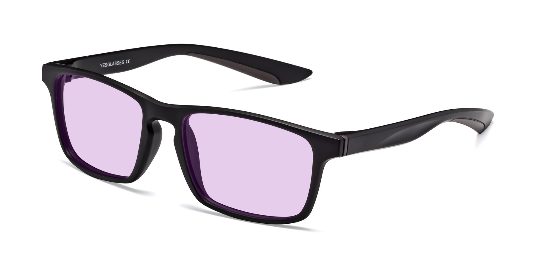 Angle of Passion in Matte Black-Coffee with Light Purple Tinted Lenses