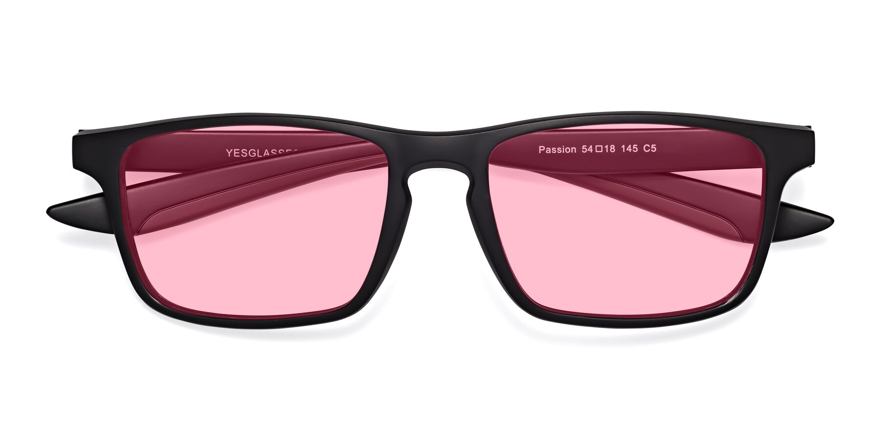 Folded Front of Passion in Matte Black-Coffee with Medium Pink Tinted Lenses
