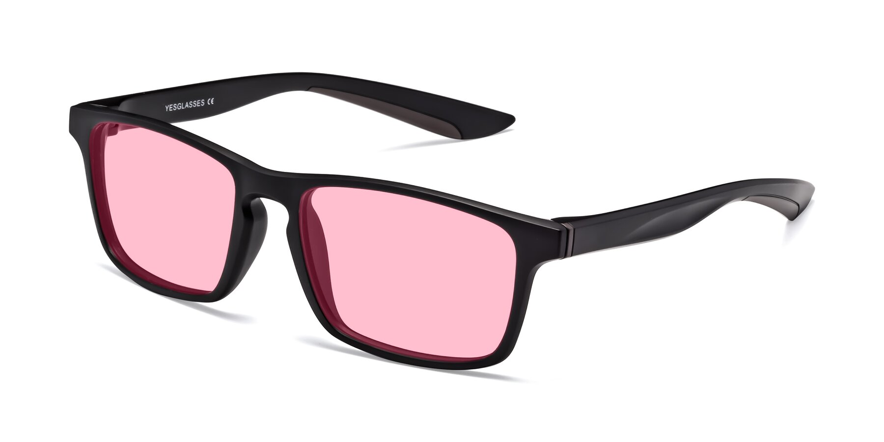 Angle of Passion in Matte Black-Coffee with Medium Pink Tinted Lenses