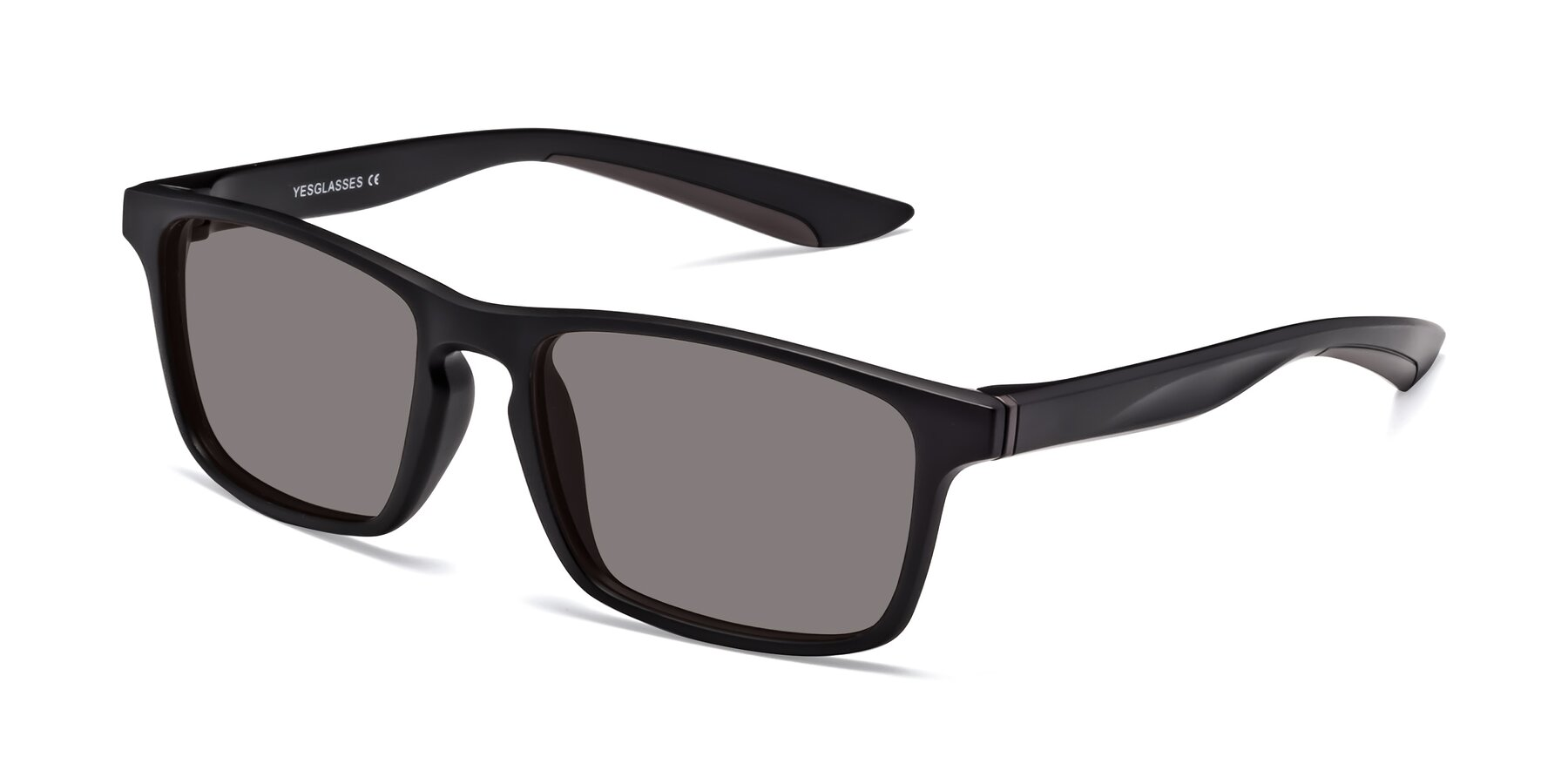 Angle of Passion in Matte Black-Coffee with Medium Gray Tinted Lenses