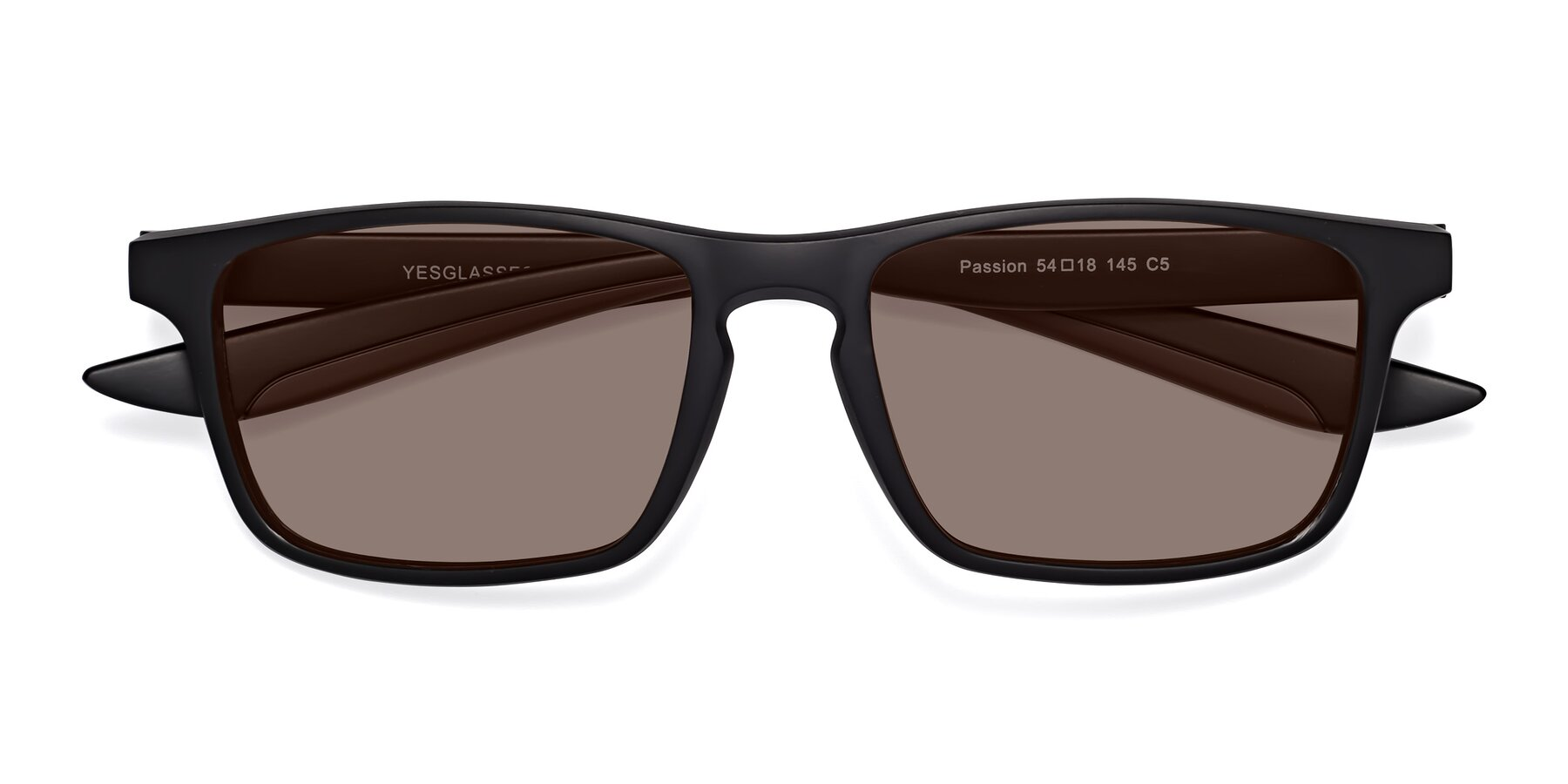 Folded Front of Passion in Matte Black-Coffee with Medium Brown Tinted Lenses